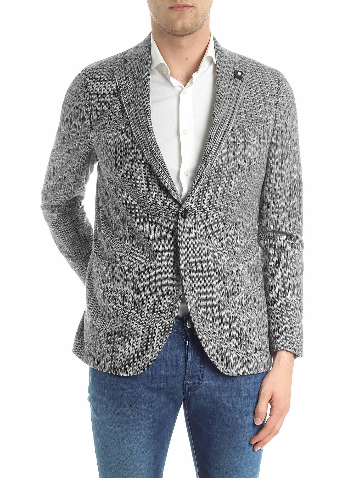 a4b3a4f54ae735 Lardini Gray Diagonal Fabric Jacket in Gray for Men - Lyst