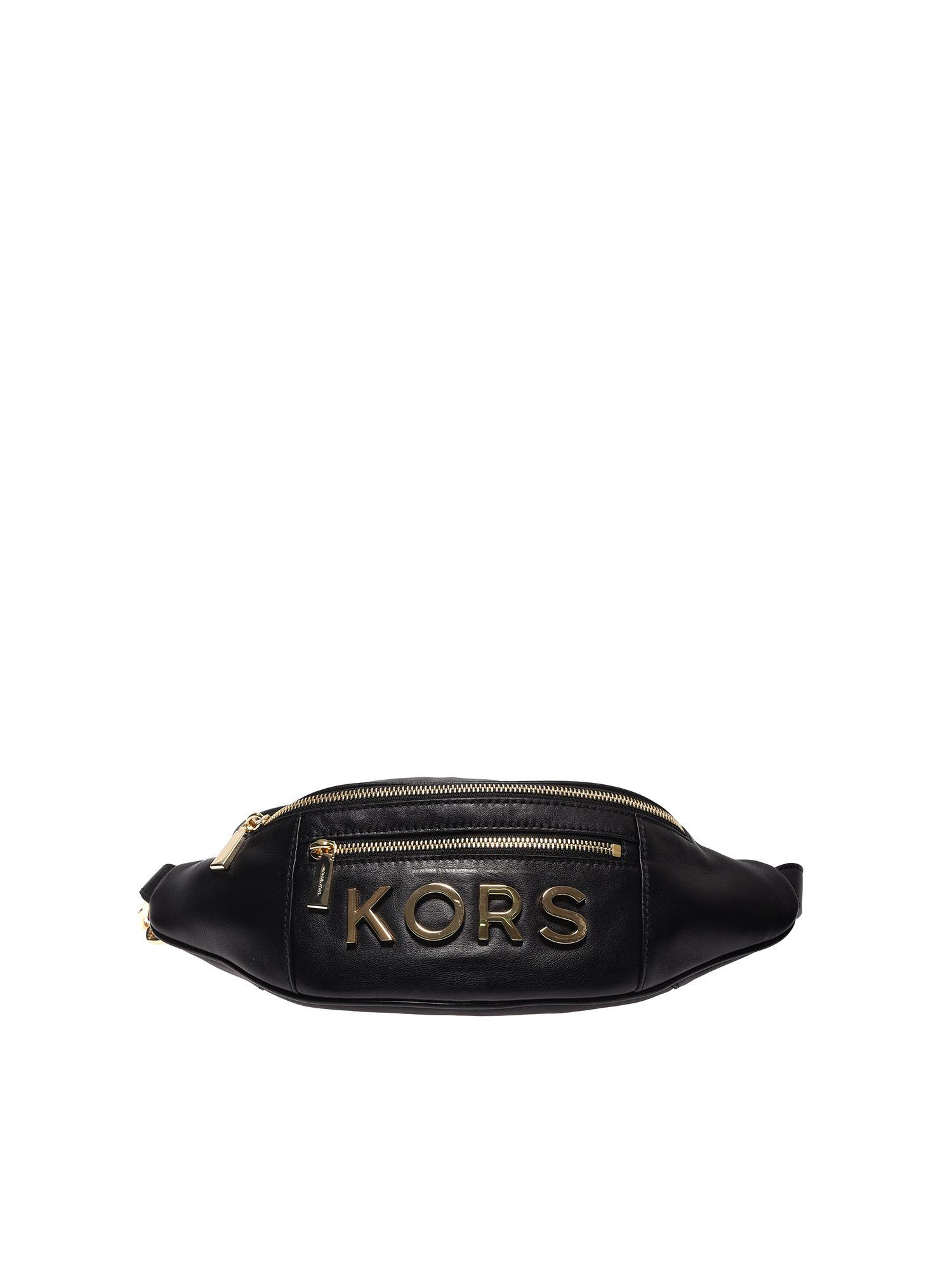 4bfa4186a38f Lyst - Michael Kors Kors Medium Fanny Pack In Black Leather in Black