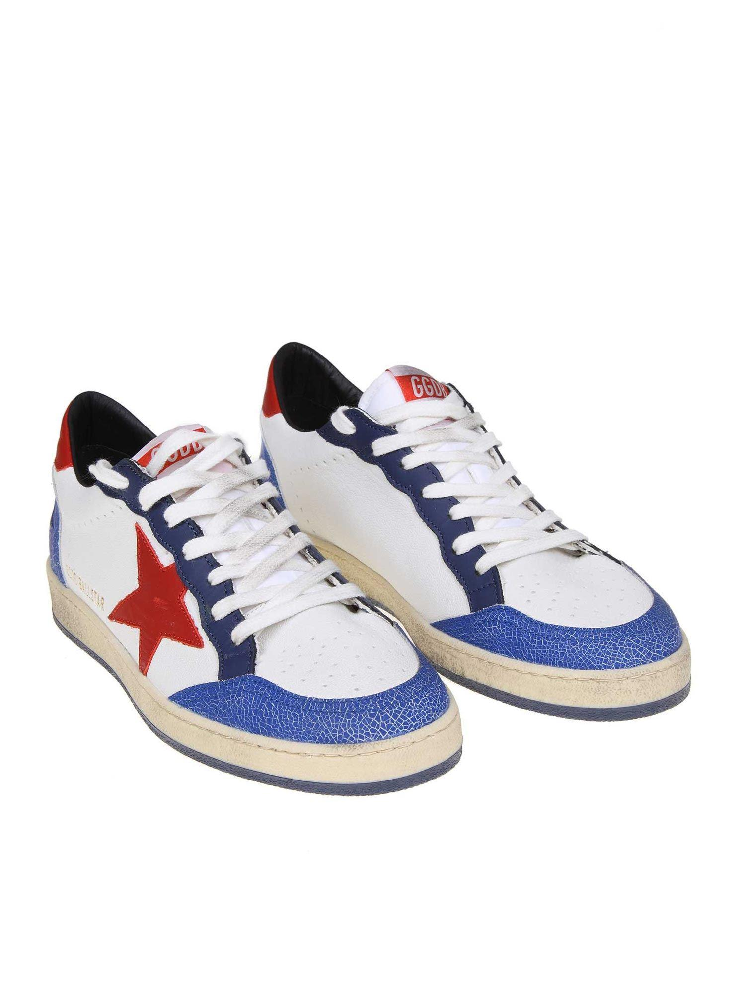1ad957a8d6bfc Lyst - Golden Goose Deluxe Brand White And Blue Ball Star Sneakers in White  for Men
