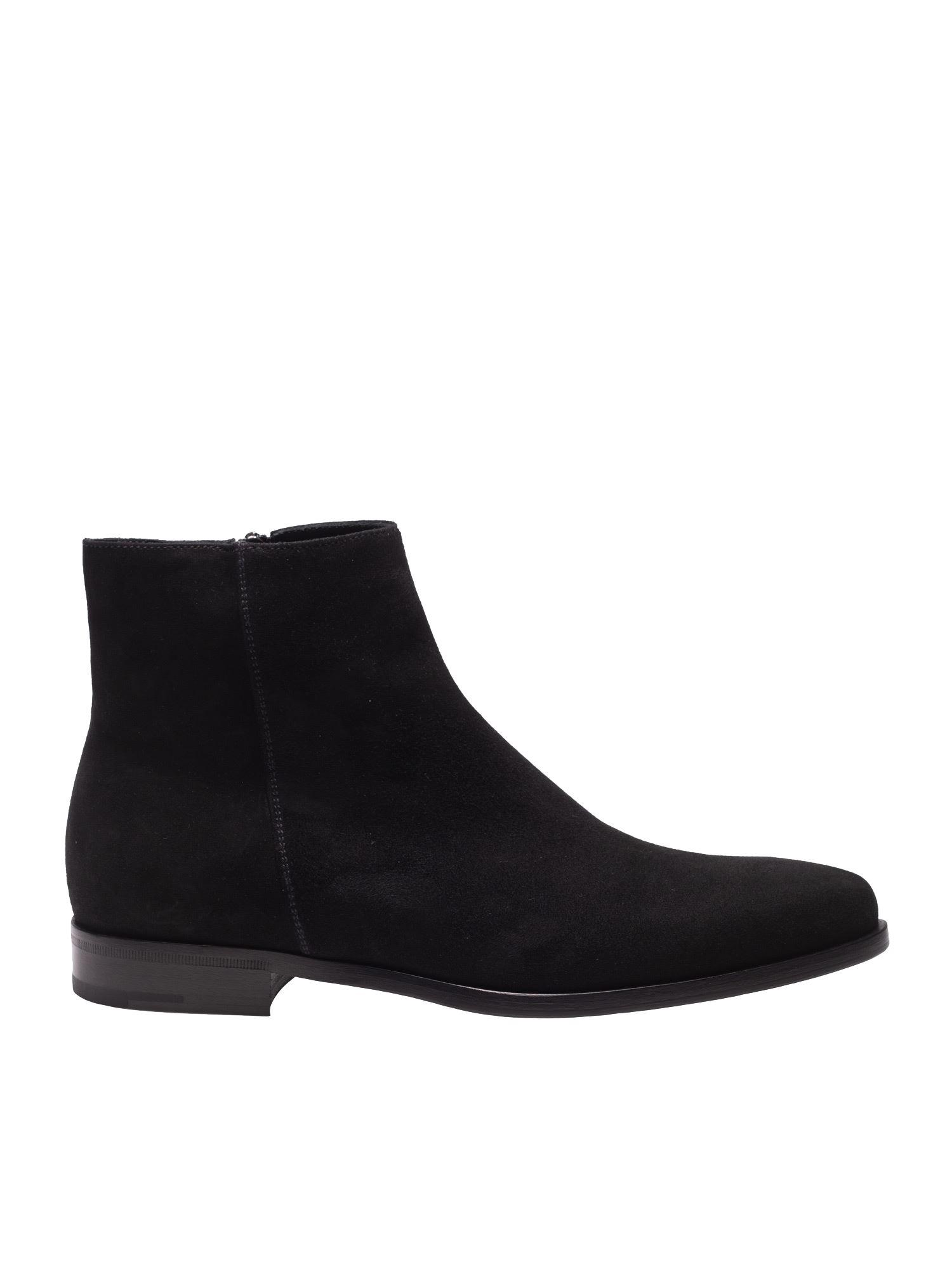988b9538b70c Prada Black Suede Ankle Boots in Black for Men - Save 34% - Lyst