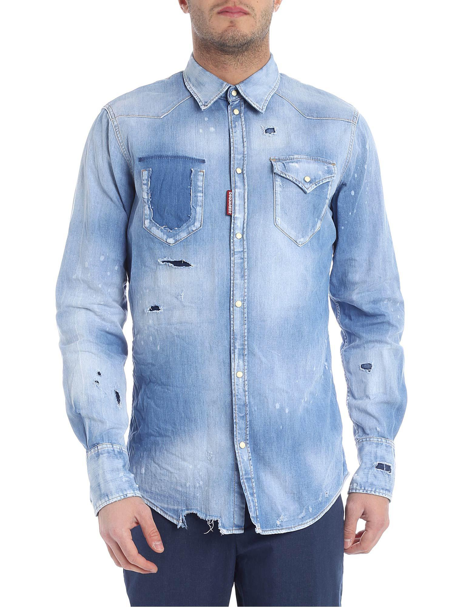 b0ca0f5eef Lyst - DSquared² Destroyed Light Blue Denim Shirt in Blue for Men