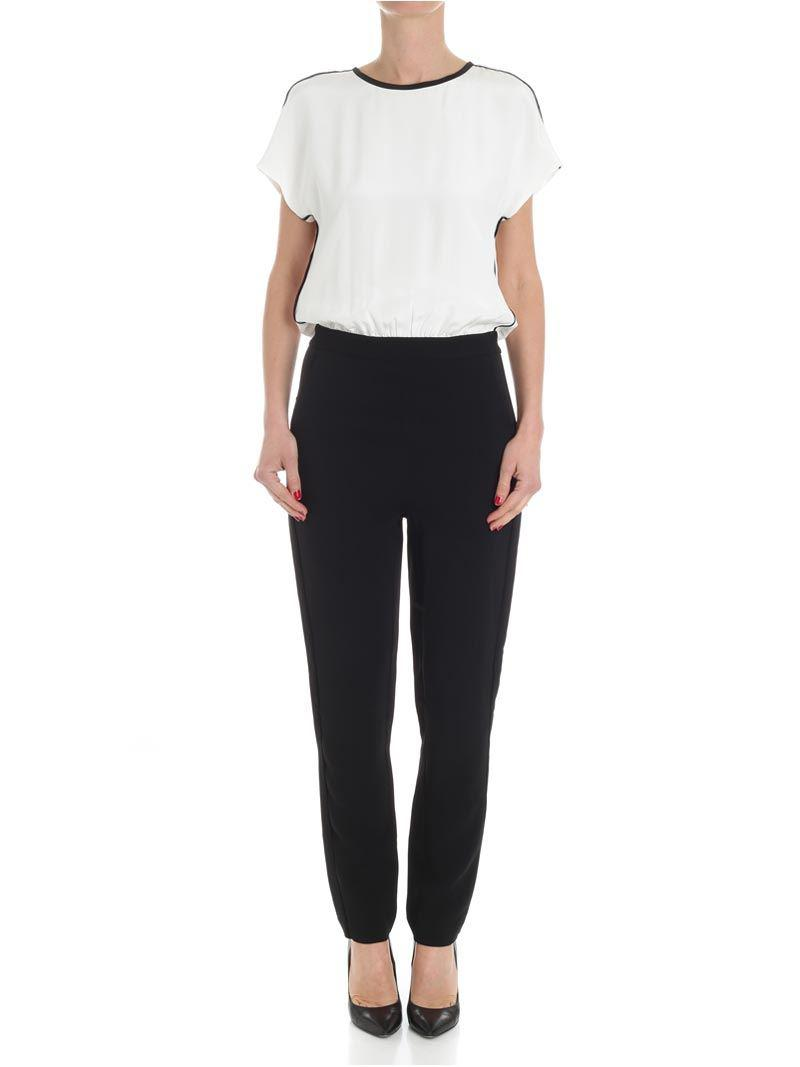 White and black short sleeves jumpsuit Karl Lagerfeld Professional Online For Cheap EfPEv