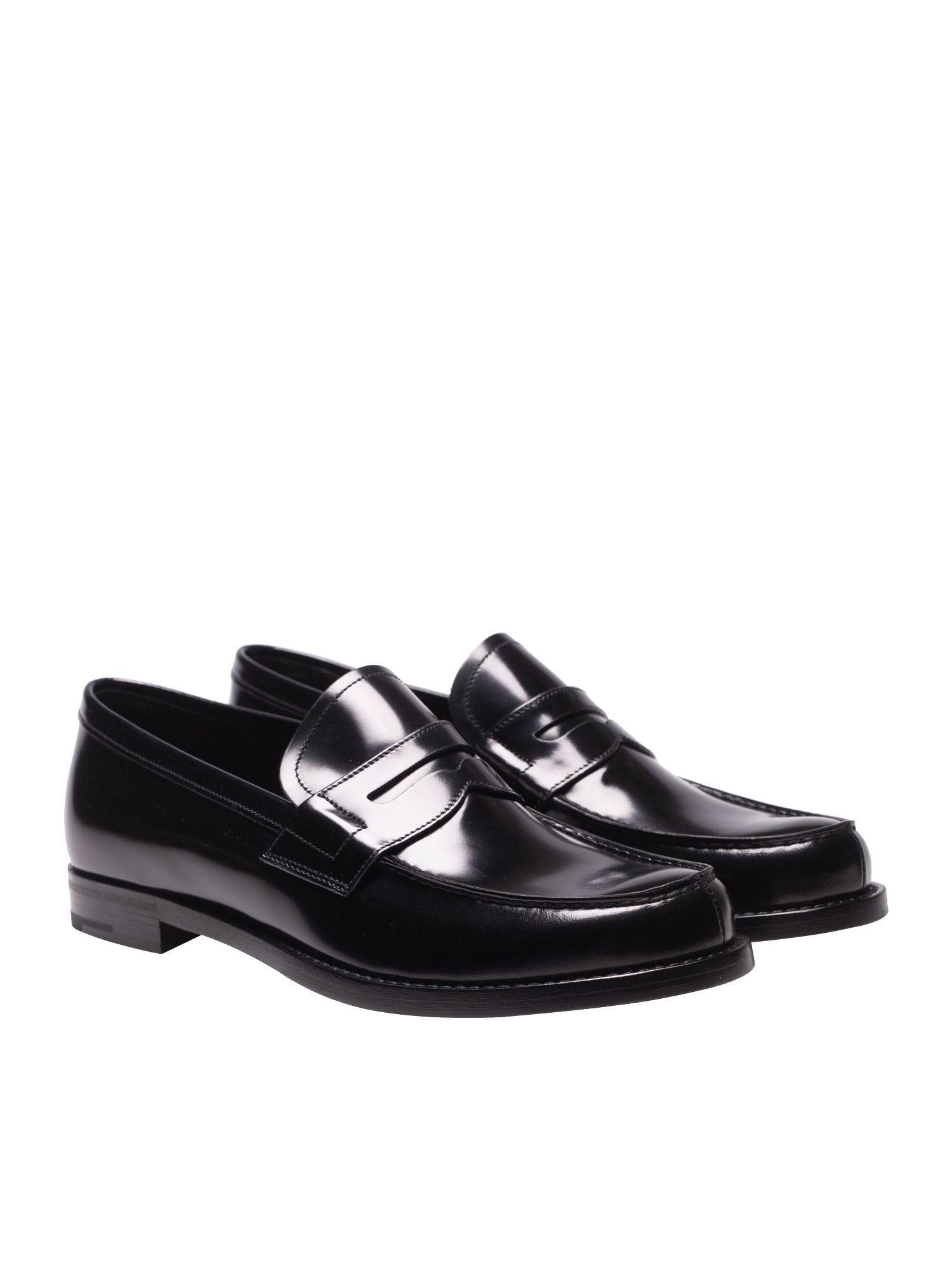 56db759970d Lyst - Prada Black Brushed Leather Loafers in Black for Men - Save 4%