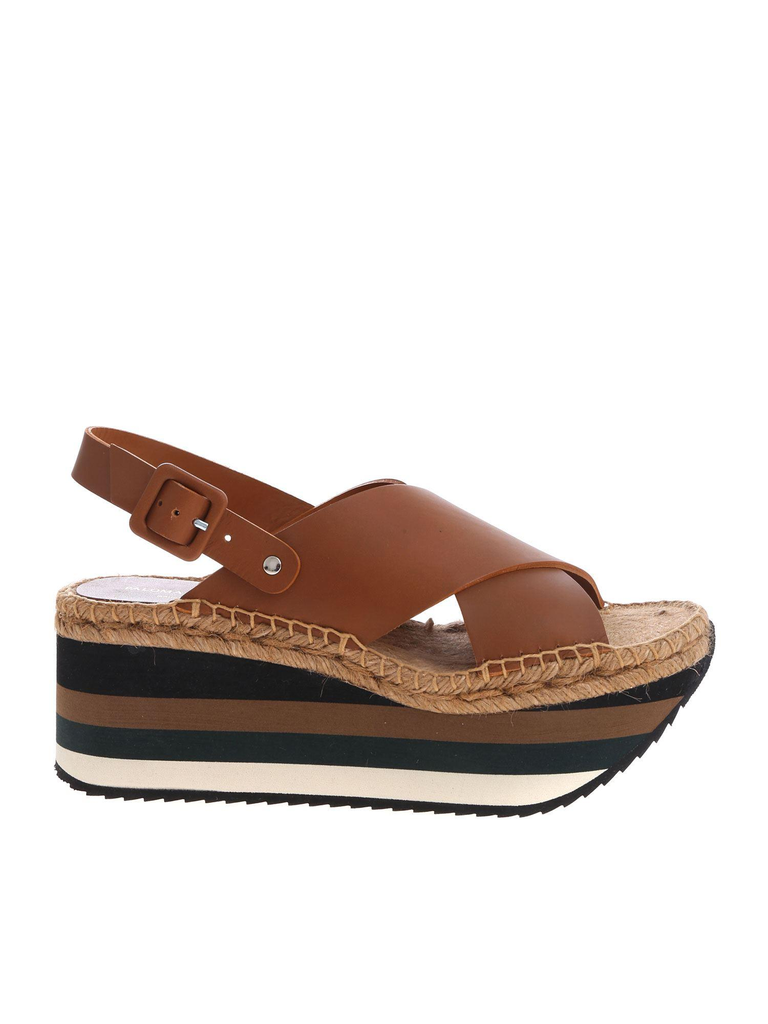 f5657d17859 Paloma Barceló. Women s Brown Kyoto Sandals In Leather With Striped Wedge