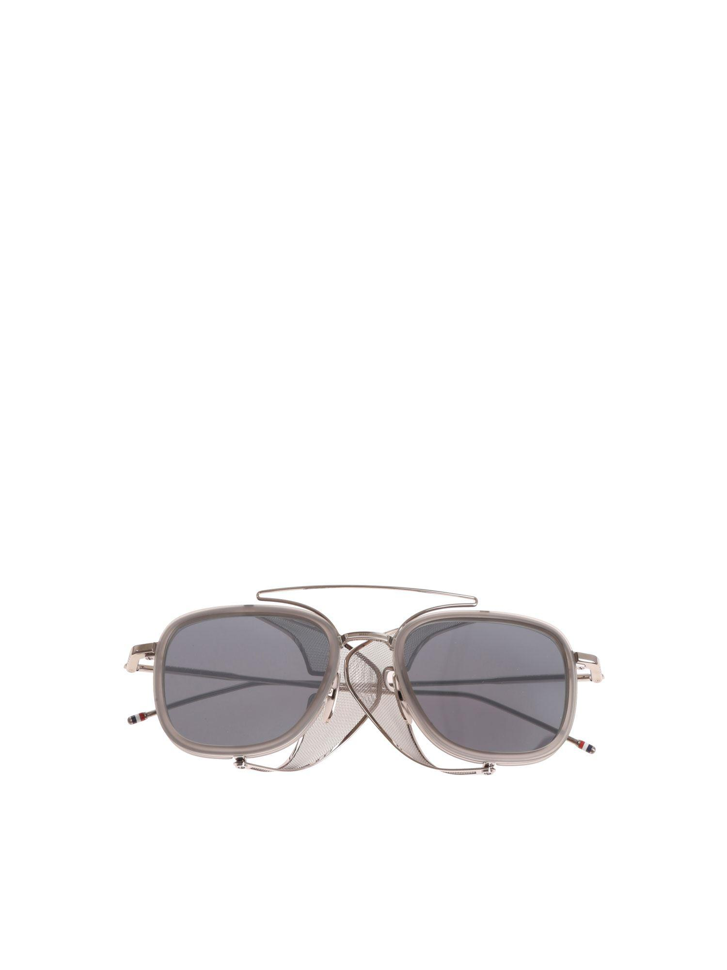 f5188d49a2d Thom Browne Grey Sunglasses With Side Shields in Gray for Men - Lyst