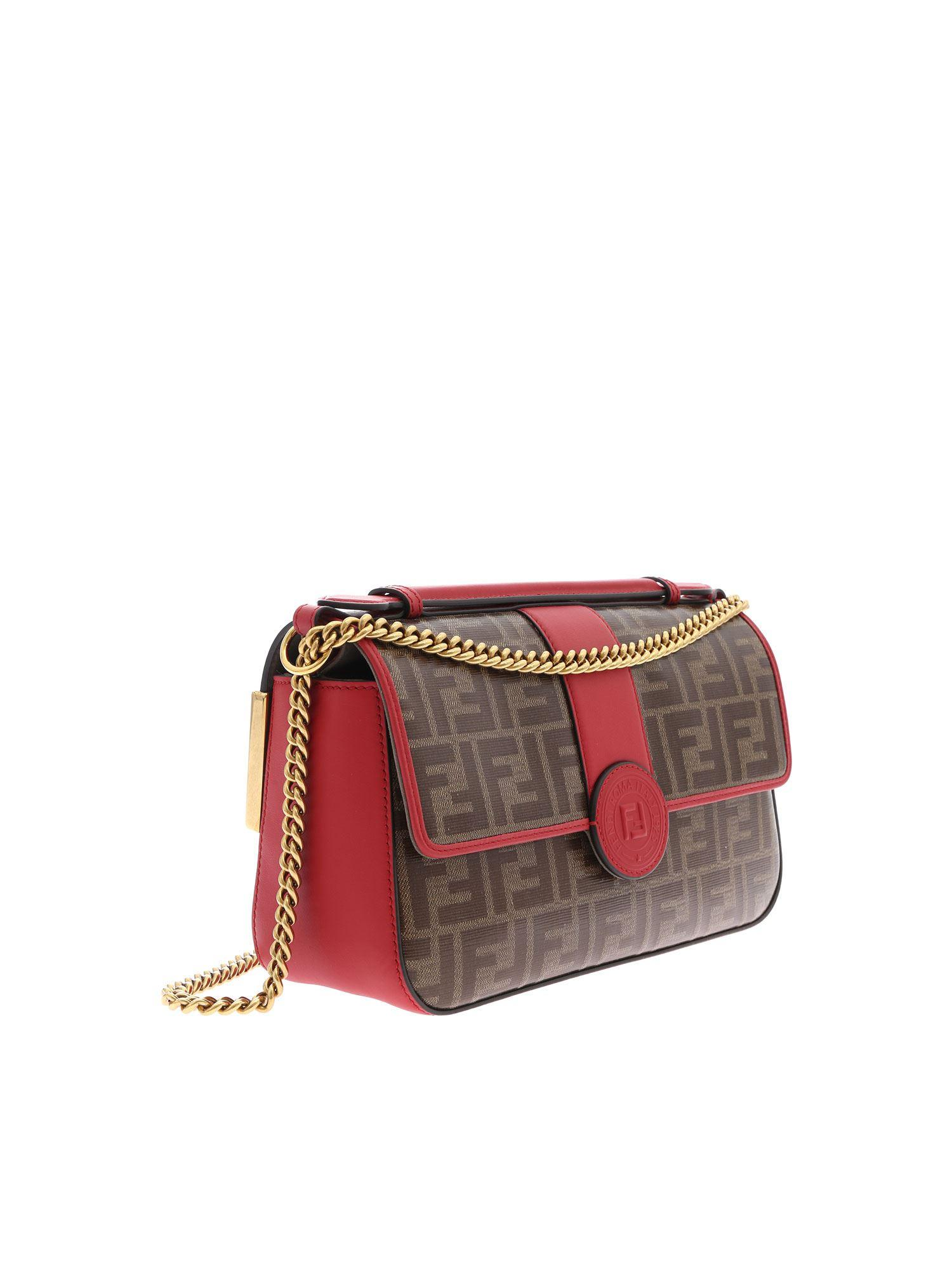 95b2c7ab18 Lyst - Fendi Double Ff Baguette Leather Shoulder Bag in Red - Save 15%