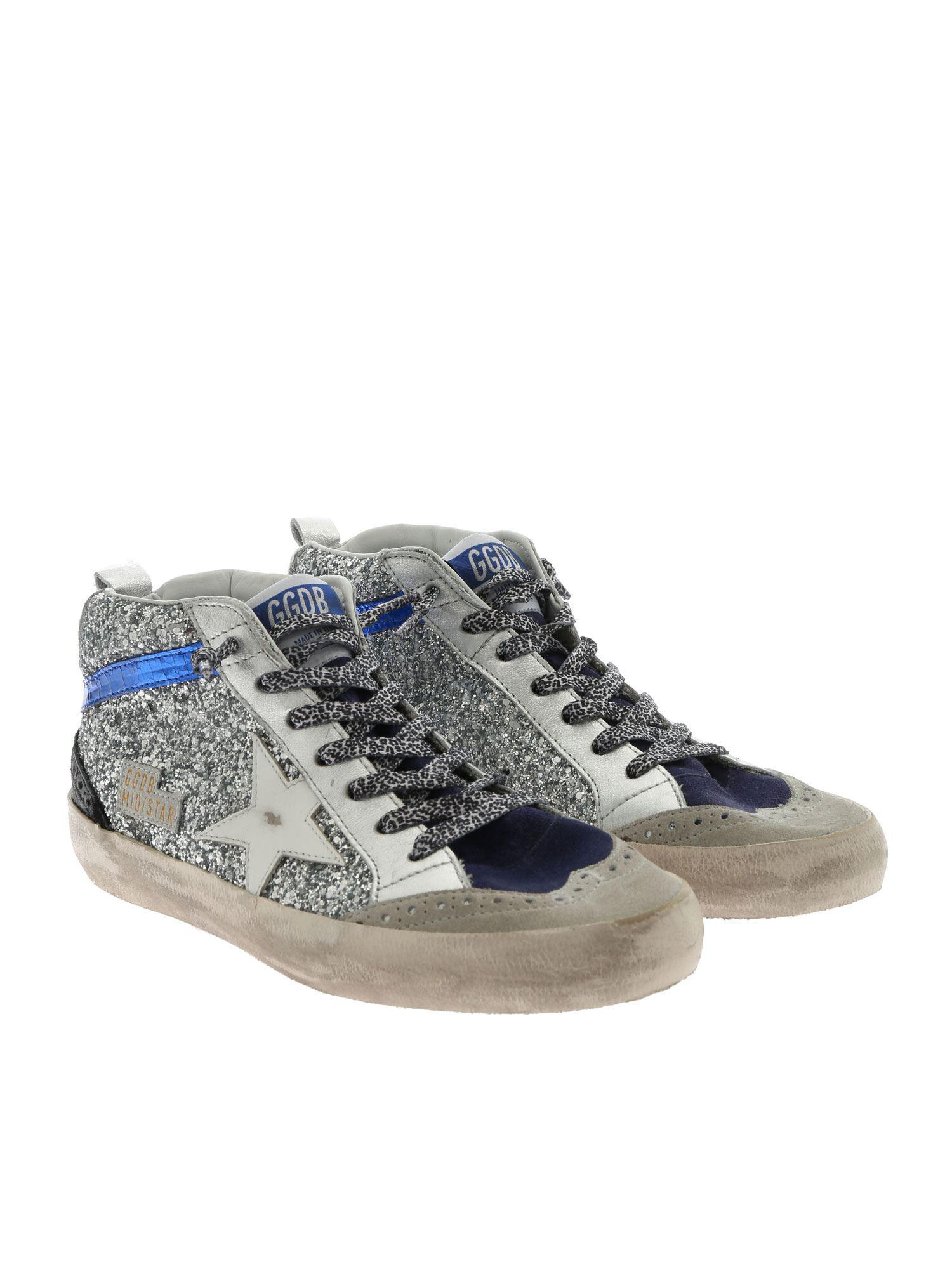 2e2a39a8f849 Golden Goose Deluxe Brand Metallic Mid Star Glitter Embellished Hi-top  Leather Sneakers in Metallic - Save 1% - Lyst