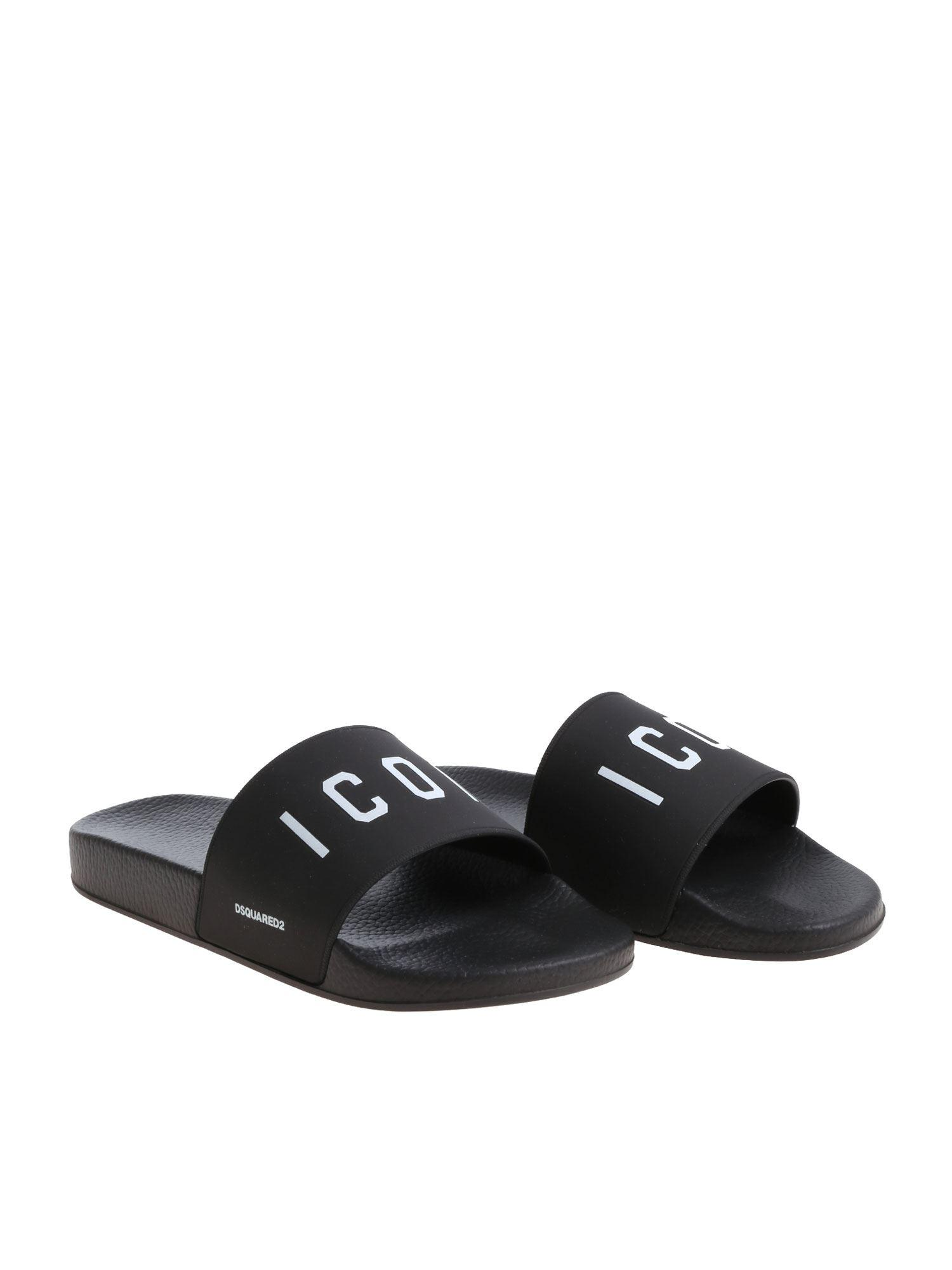 f264c4db3 DSquared² Black Slippers With White Icon Print in Black for Men - Save 35%  - Lyst