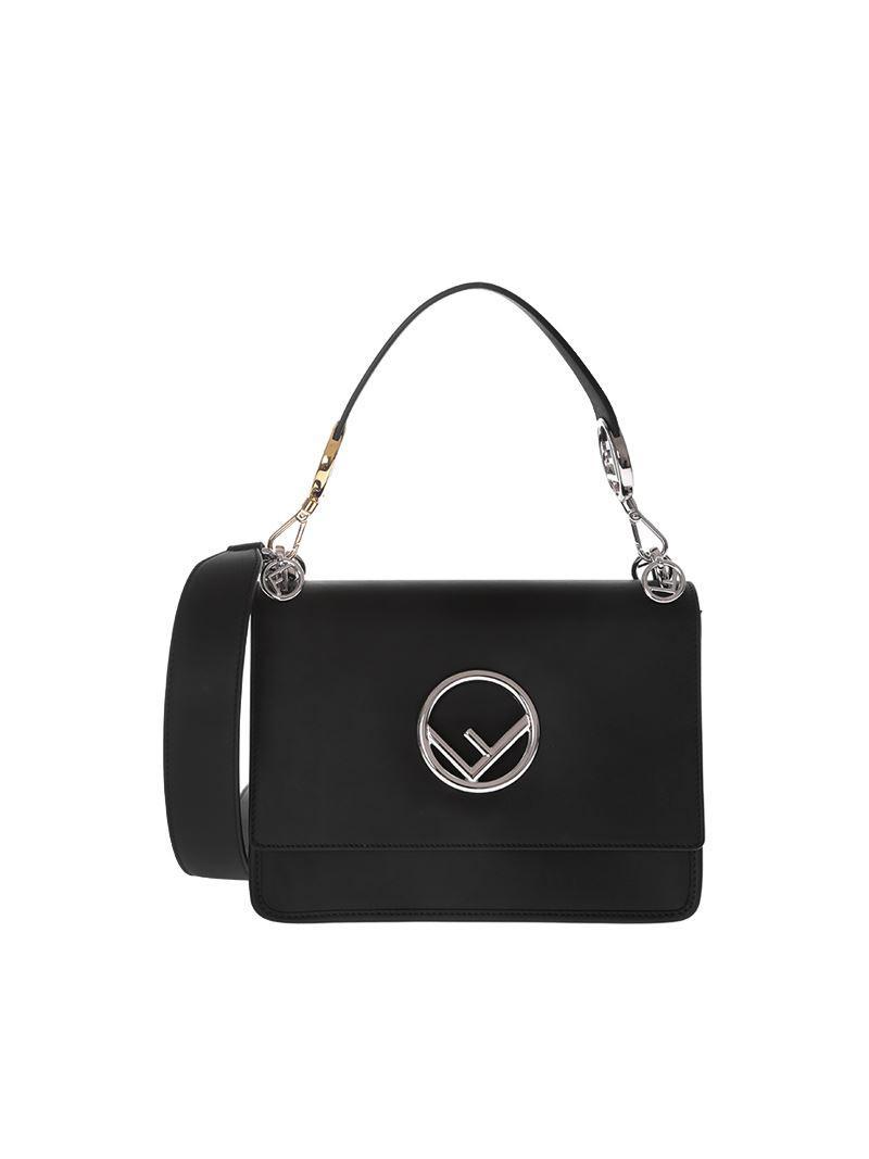 dcde492bd8ef Fendi Kan I F Leather Bag In Black in Black - Save 8% - Lyst