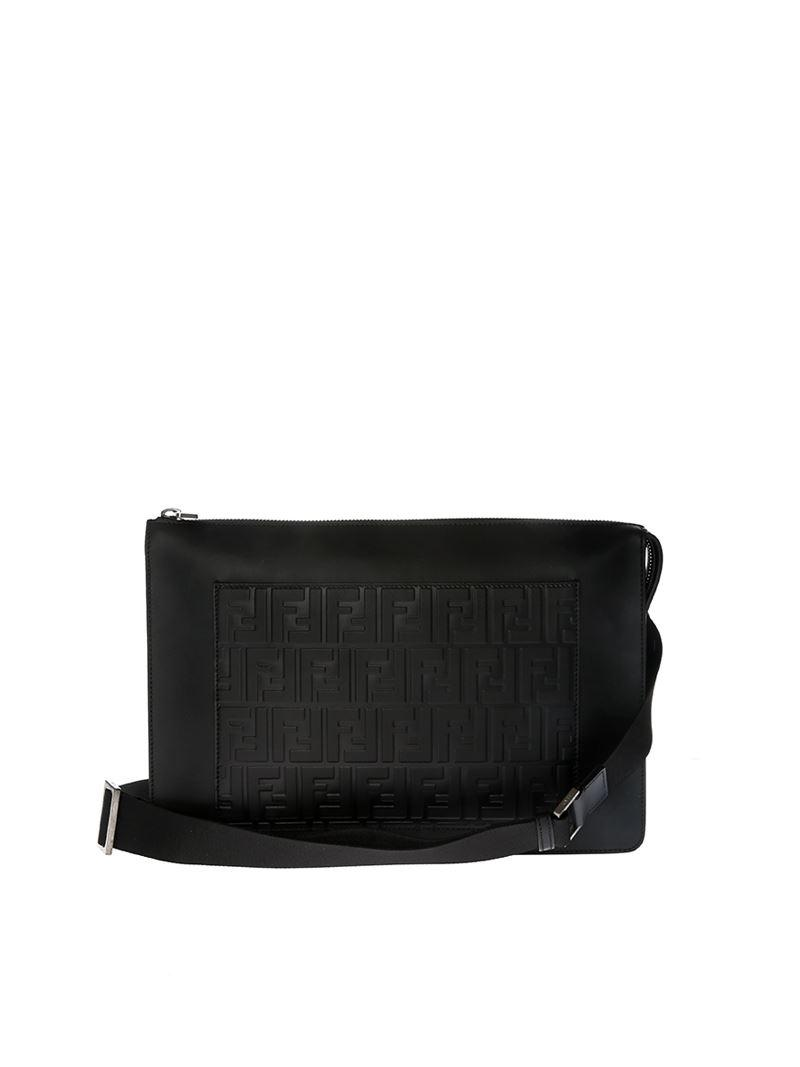 2a070e9d5f54 Lyst - Fendi Black Embossed Leather Clutch Bag in Black