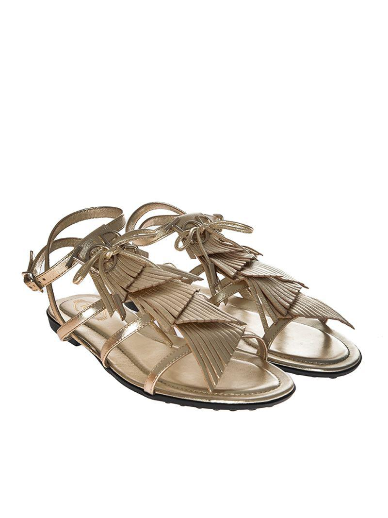 Golden fringed sandals Tod's PwVgp