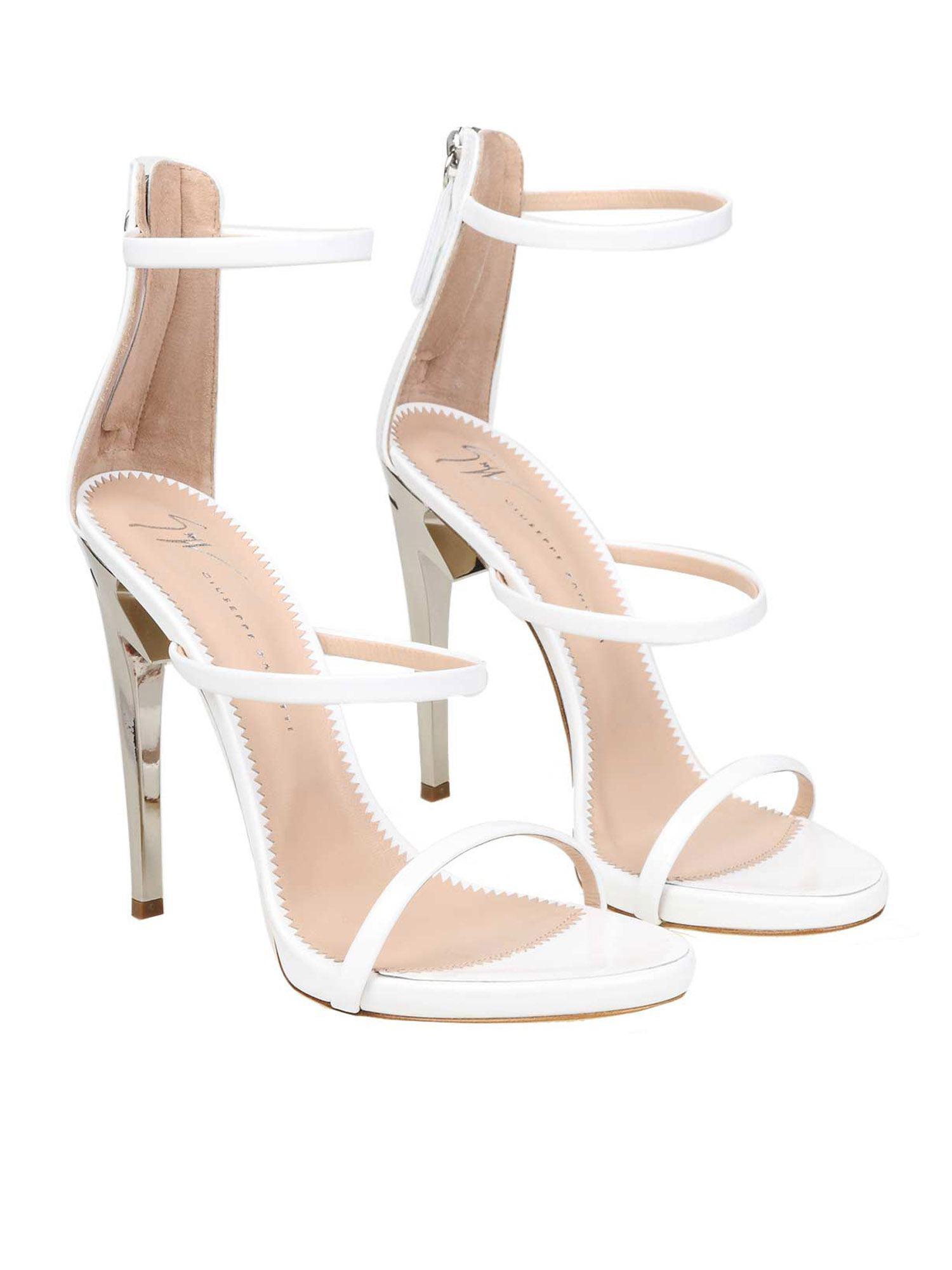 febaa3bfccba Lyst - Giuseppe Zanotti White Leather Sandals in White - Save 29%