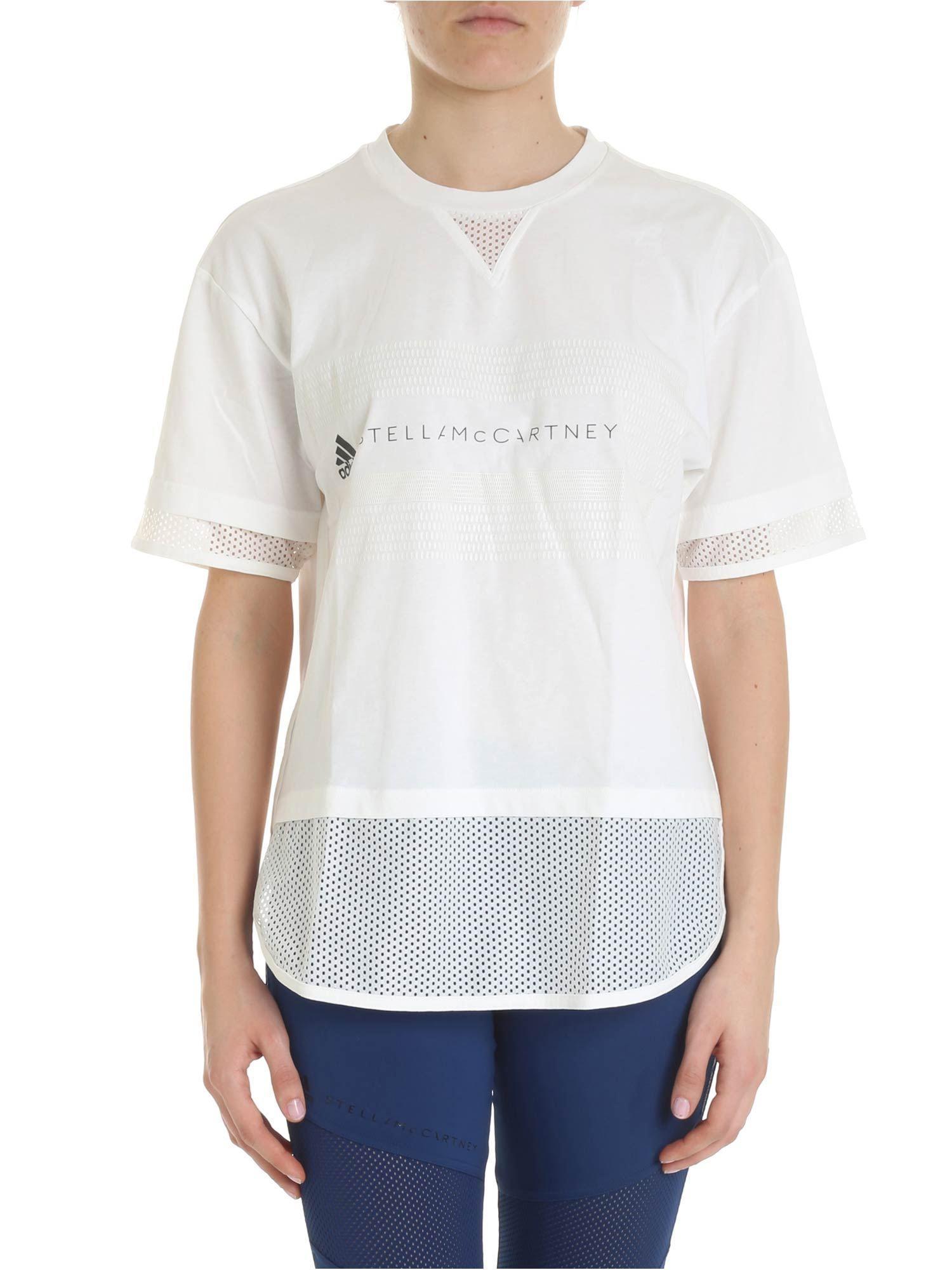 f2358ab214ad Lyst - adidas By Stella McCartney White Sporty T-shirt With Logo in ...