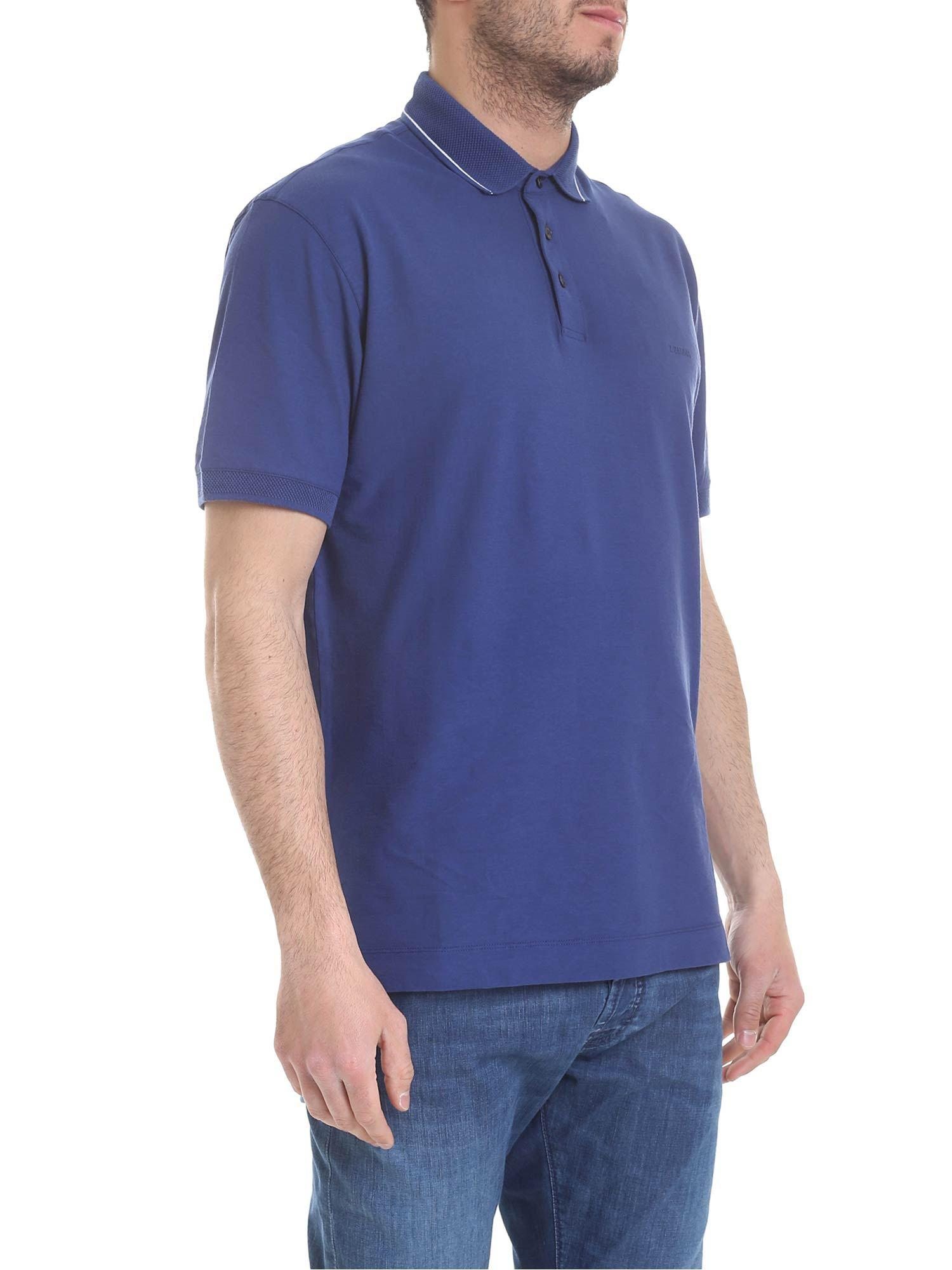 d4d4e8bc9 Lyst - Z Zegna Blue Polo Shirt With White Stripes in Blue for Men
