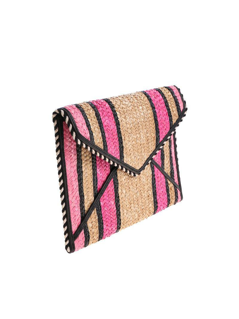 Pink and beige striped Straw Leo clutch bag Rebecca Minkoff GbFM9nFi