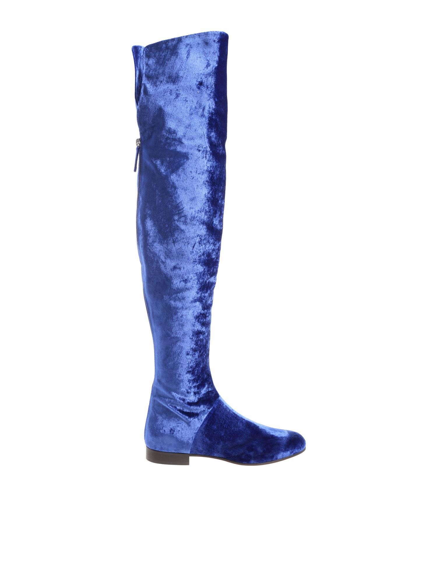 fbc40d60626 Lyst - Alberta Ferretti Electric Blue Velvet Boots in Blue
