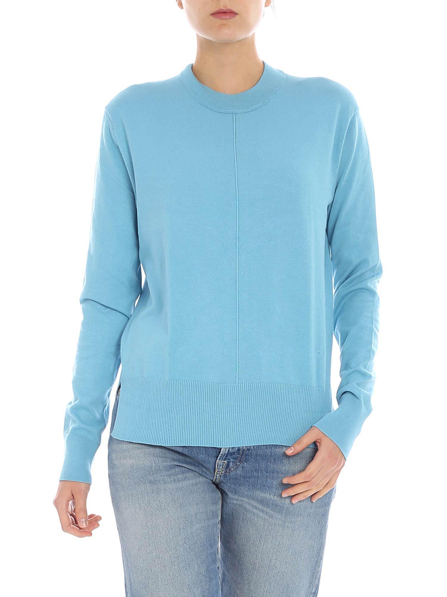 325319c33534 Calvin Klein Light Blue Crew-neck Sweater With Seam in Blue - Lyst