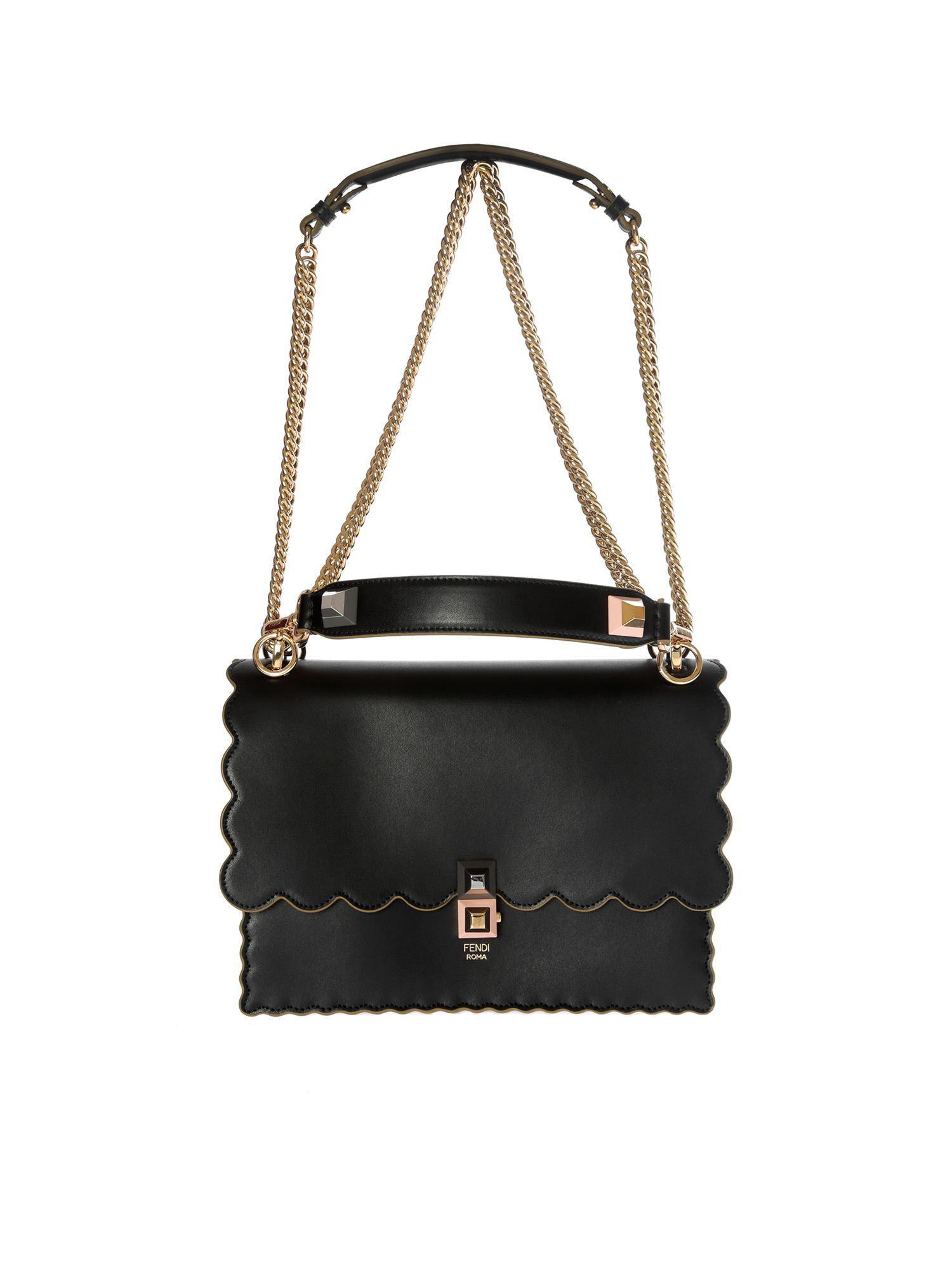7af9f40b6f10 Fendi Kan I Black Shoulder Bag in Black - Lyst
