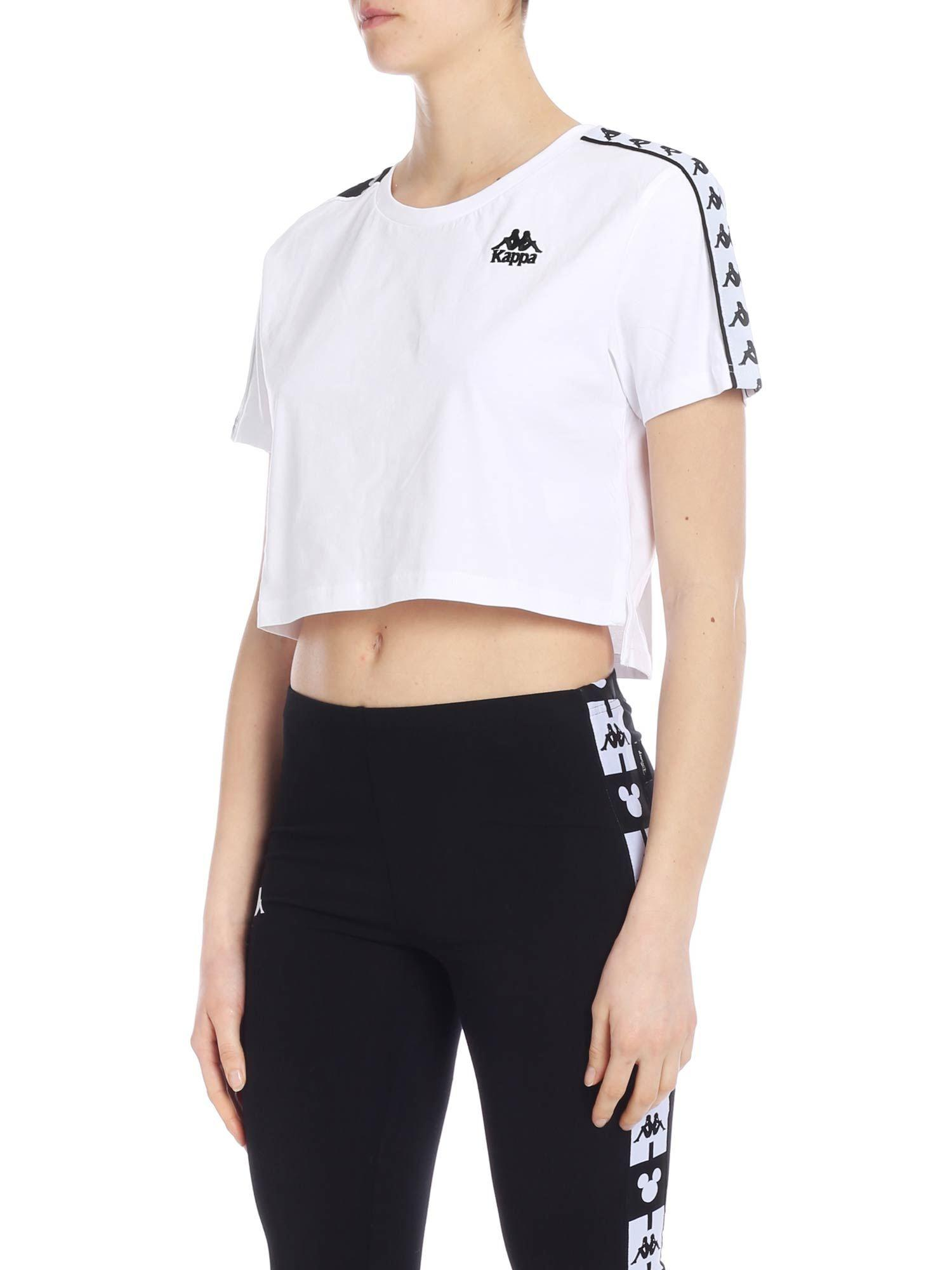 1d3b9c76f595e Lyst - Kappa Banda Apua Crop T-shirt In White With Branded Bands in White