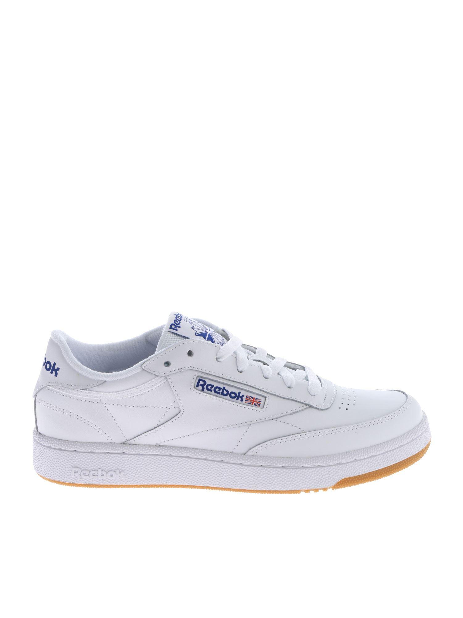 8889f62d1f4 Reebok - Club C 85 White Sneakers With Blue Logos for Men - Lyst. View  fullscreen
