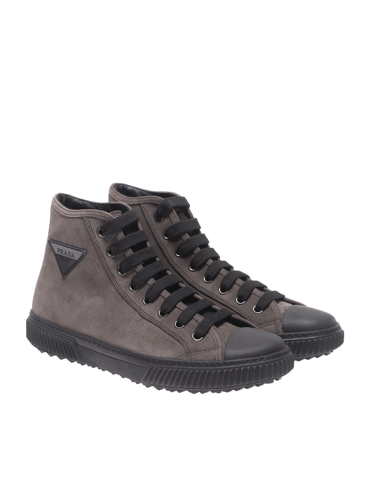 0b601032 50% off prada mesh leather velco high shoes for men blue gray 69dd8 ...
