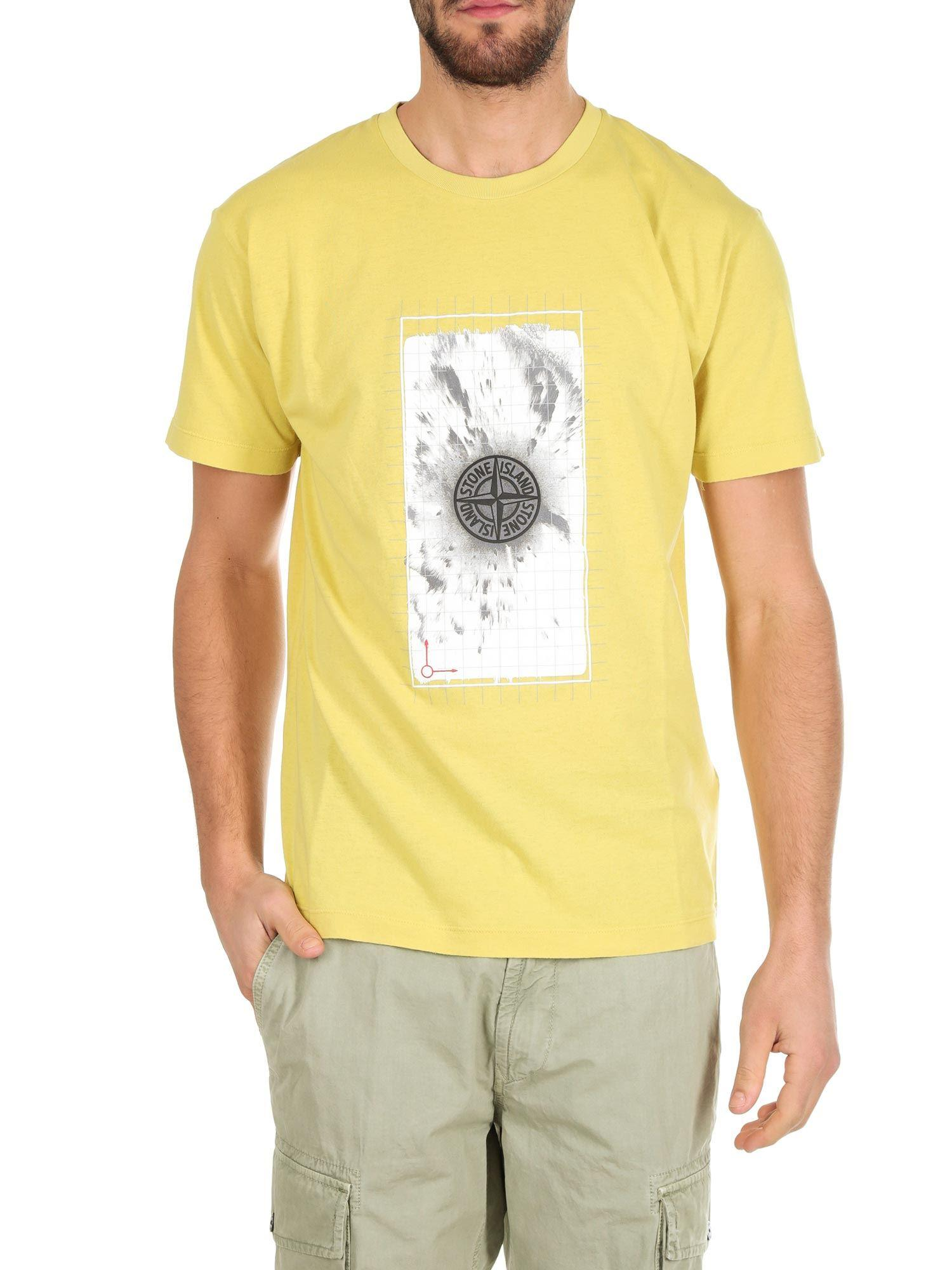 d786e416d04e Lyst - Stone Island Yellow T-shirt With Graphic Five Print in Yellow ...