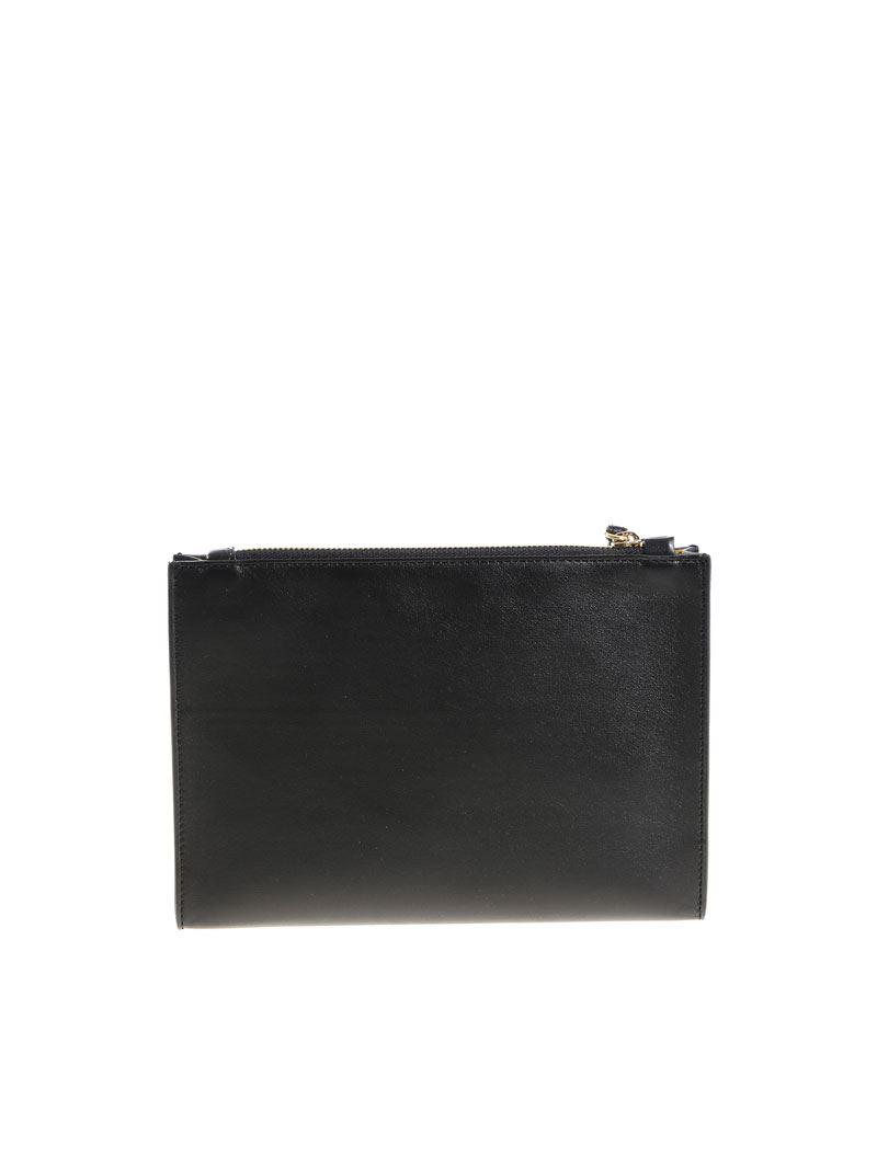 Black clutch bag with pierced logo Stella McCartney God2ajFf