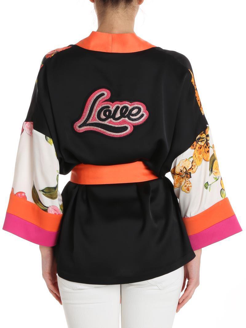 Black Edwena Kimono with orchid print Pinko Best Seller Cheap Online S3D8o