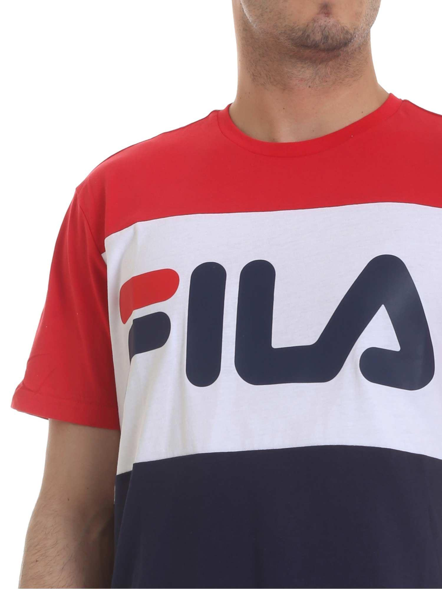 8d924f85 Lyst Fila T Shirt In Blue Red And White In Blue For Men