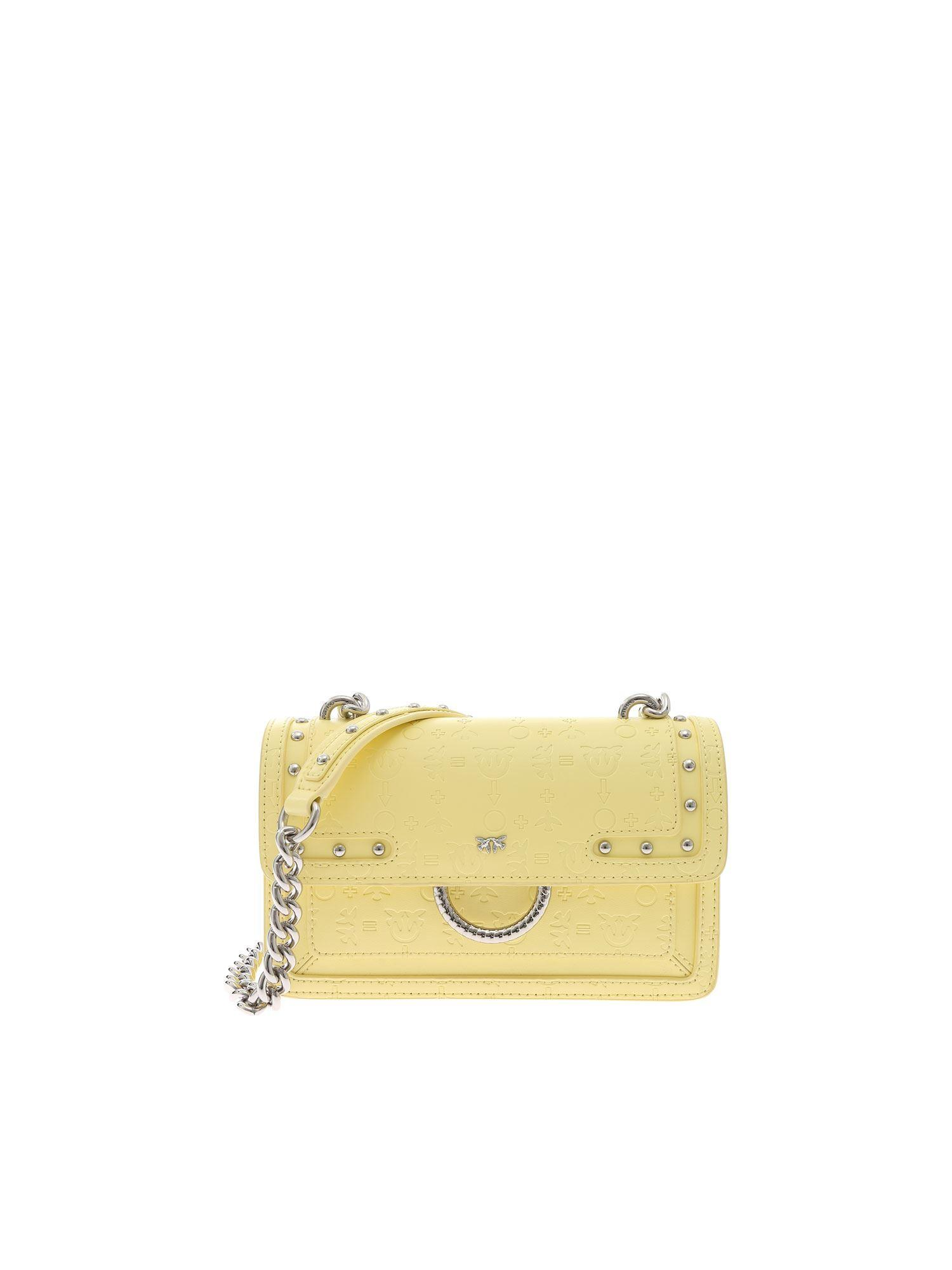 32139926bac Pinko - Mini Love Monogram Yellow Bag - Lyst. View fullscreen