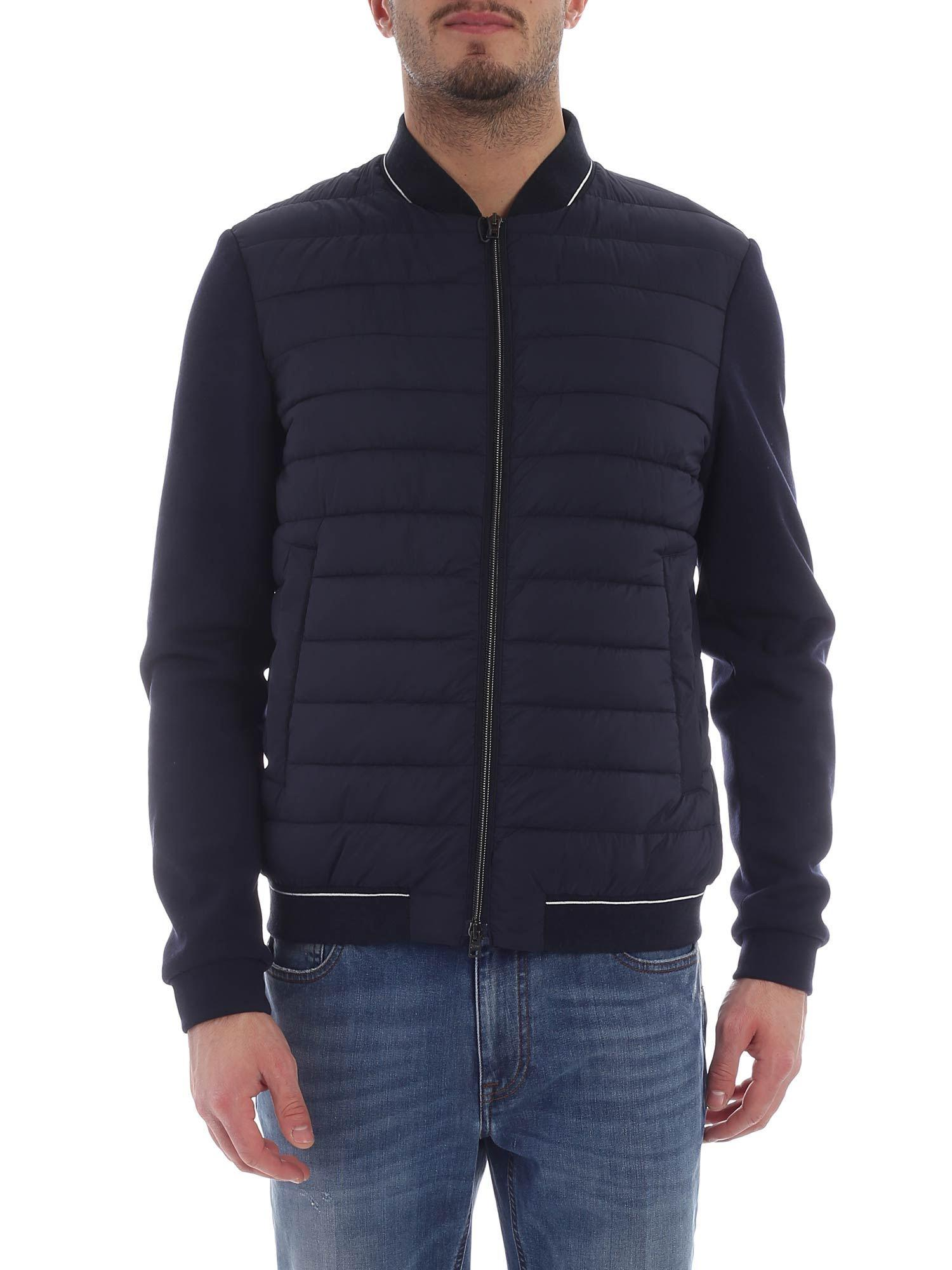 8536b28d1 Herno - Blue Bomber Jacket With Contrasting Sleeves for Men - Lyst. View  fullscreen