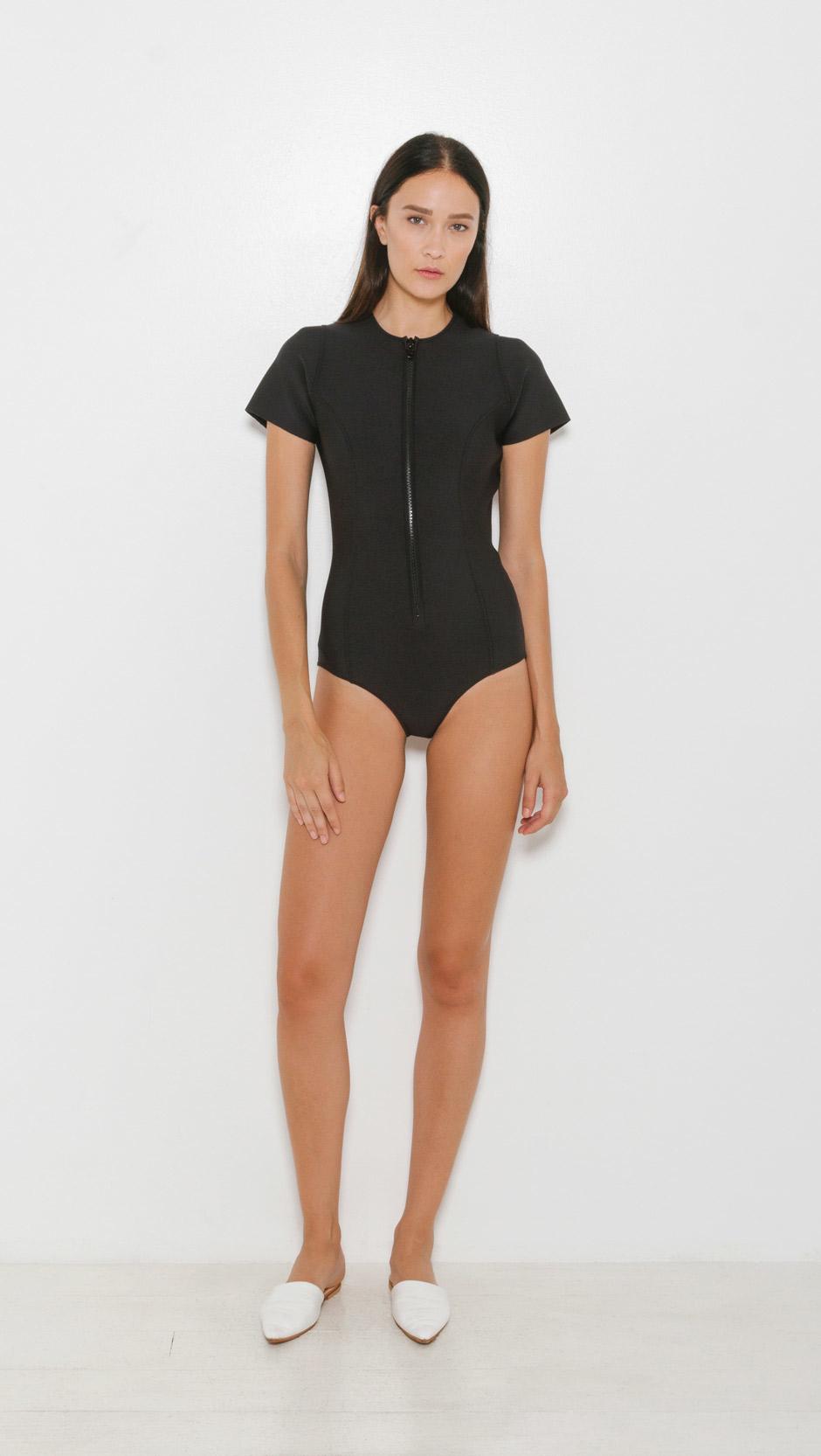 lisa marie fernandez farrah neoprene maillot in black lyst. Black Bedroom Furniture Sets. Home Design Ideas