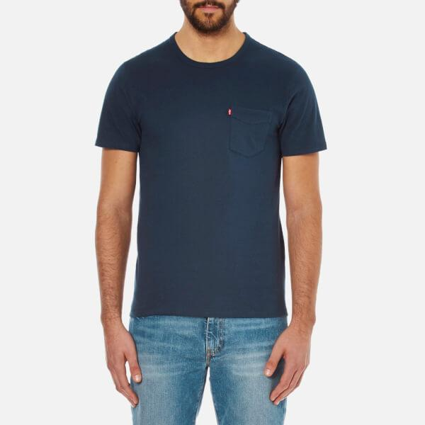 Levi 39 s men 39 s sunset pocket tshirt in blue for men lyst for Levis t shirt sale