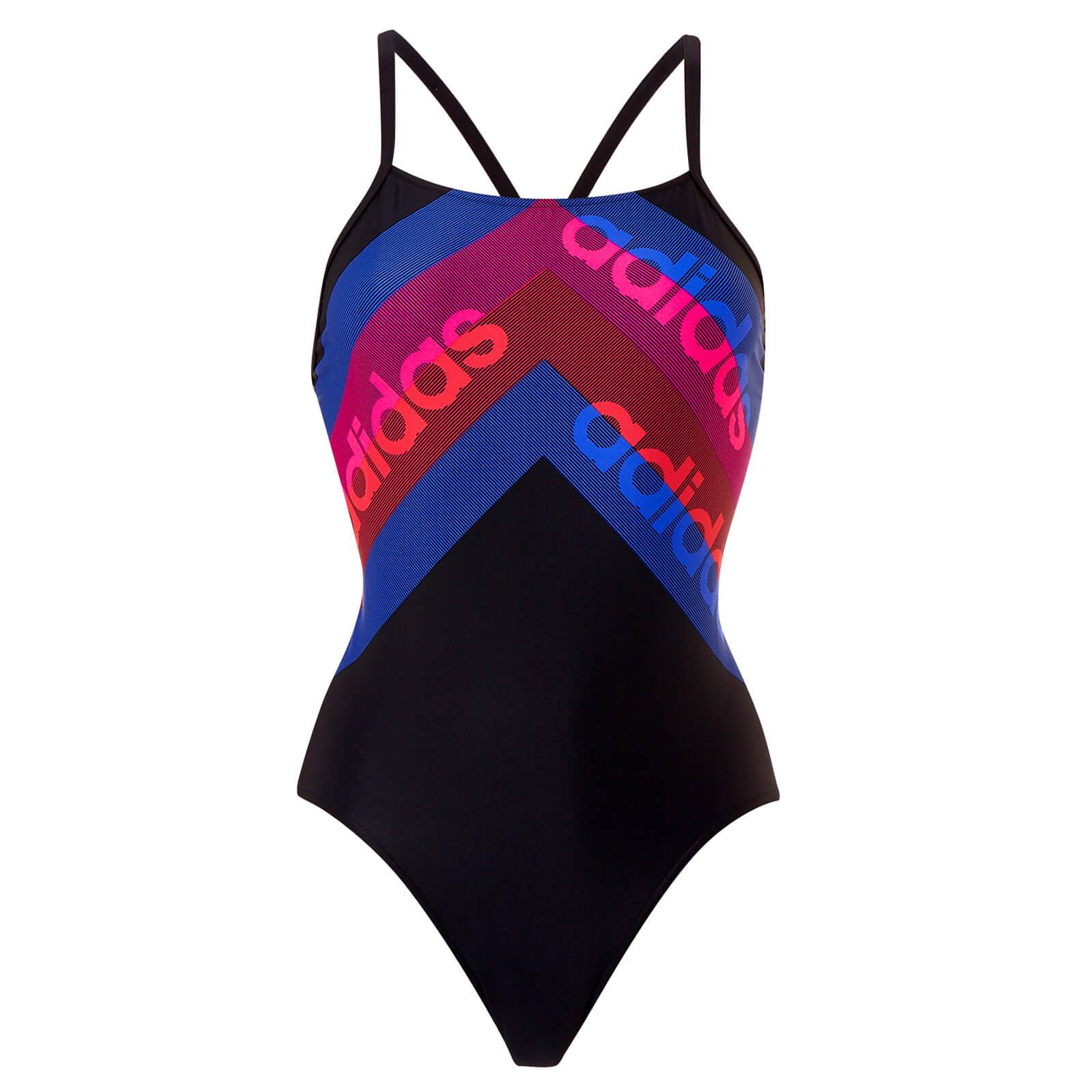 78402c65ed0e2 Lyst - adidas Fit 1 Piece Line Print Swimsuit in Blue - Save 41%