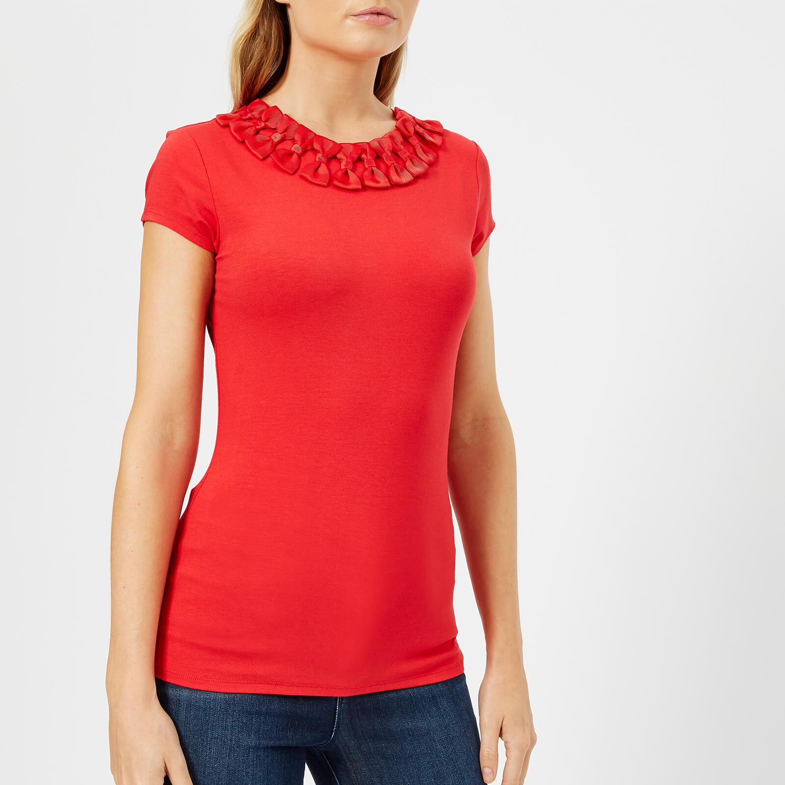 dffd060b150bf Lyst - Ted Baker Charre Bow Neck Trim Detail T-shirt in Red