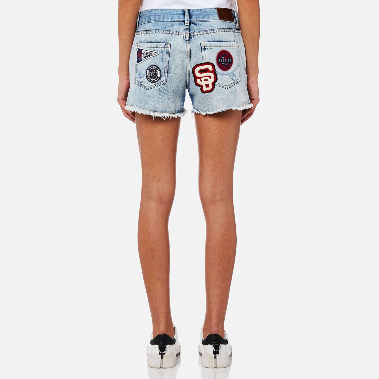Lyst - Superdry Steph Badged Boyfriend Shorts in Blue 38a36780f014