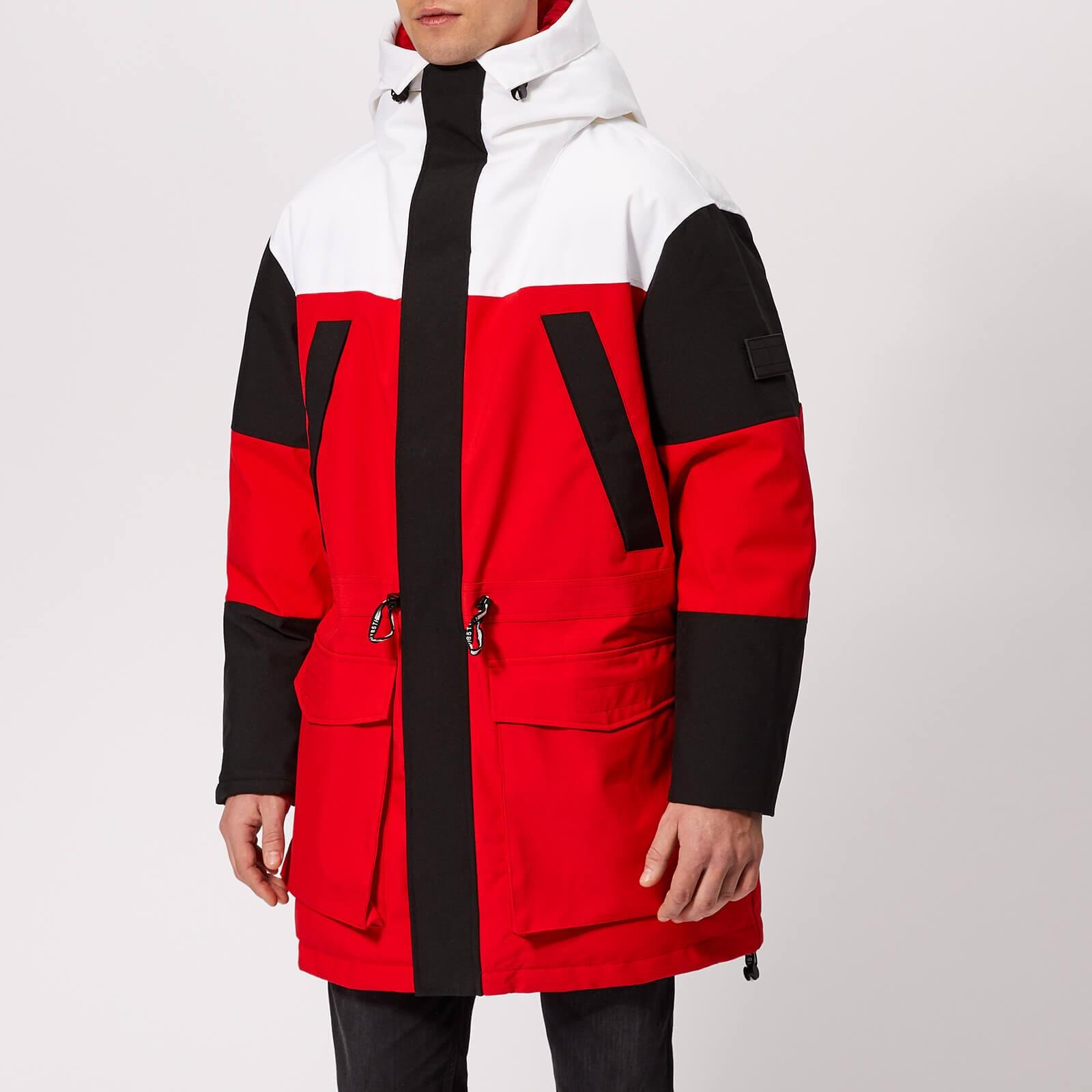 d5f818f7b4008a Lyst - Tommy Hilfiger Colourblock Parka in Red for Men - Save 37%