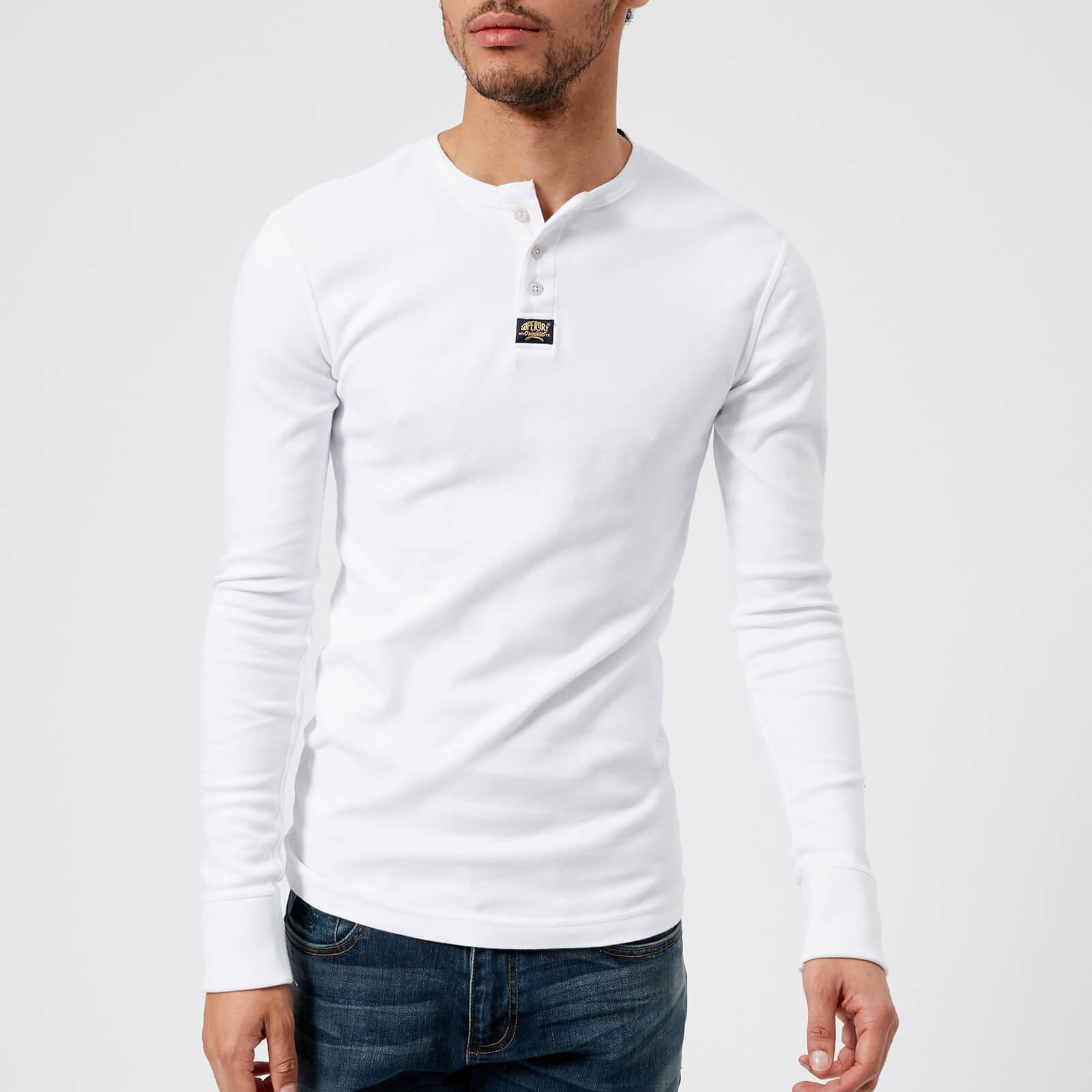 eabf7cd17d14 Superdry Heritage Long Sleeve Grandad Henley T-shirt In White in ...