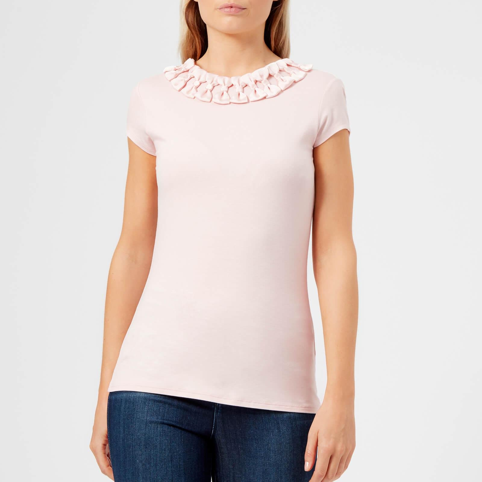 369b04eedf18e Lyst - Ted Baker Charre Bow Neck Detail Fitted T-shirt in Pink