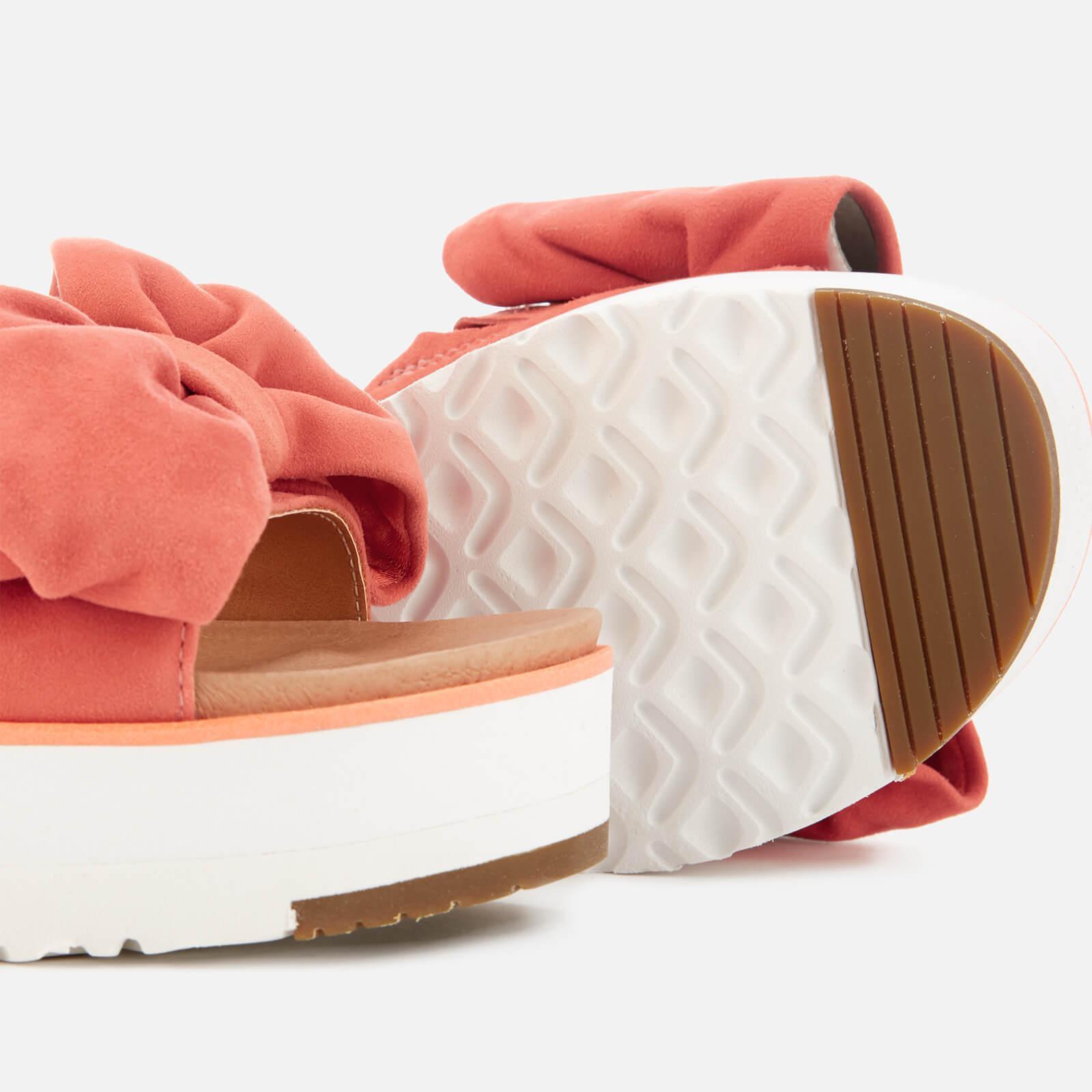 32eb5da715c Lyst - UGG Joan Suede Bow Flatform Slide Sandals in Orange