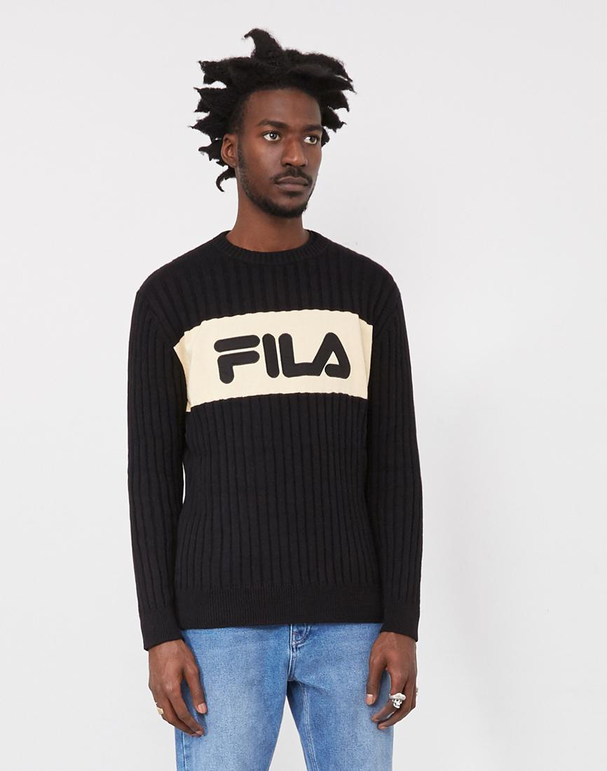 Fila. Men's Rory Texture Crew Knit Black