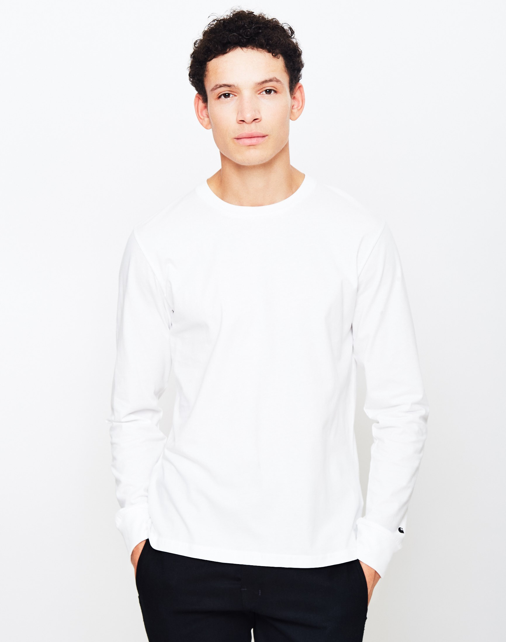 Carhartt wip long sleeve base t shirt white in black for for Carhartt long sleeve t shirts white