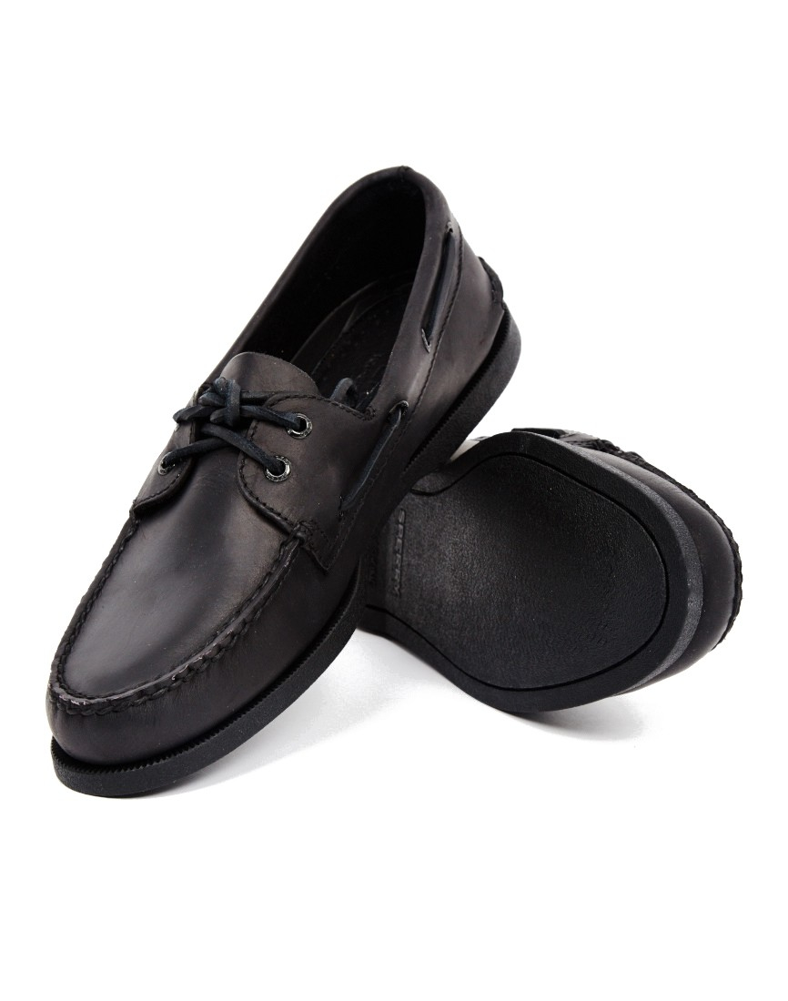 lyst sperry top sider all black leather boat shoe in black for men