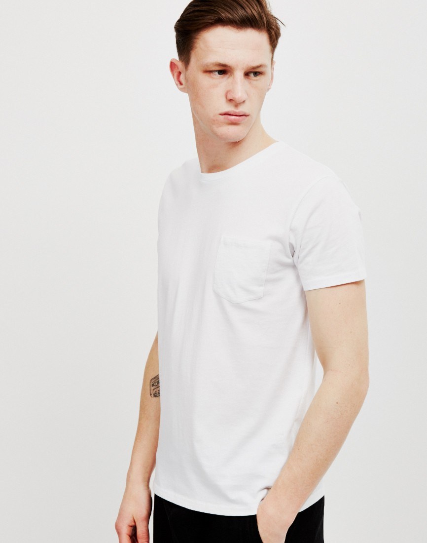 Edwin pocket t shirt white in white for men lyst for White t shirt outfit mens