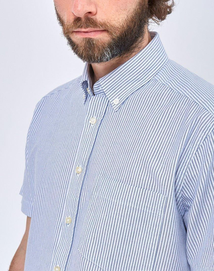 26f577367176 Lyst - The Idle Man Relaxed Modern Fit Stripe Oxford Short Sleeve Shirt Blue  in Blue for Men - Save 18%
