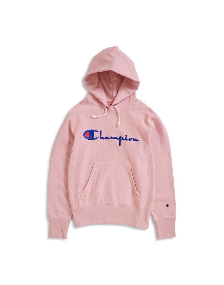 416fc6be3569 Lyst - Champion Reverse Weave Script Logo Hooded Sweatshirt Pink in ...