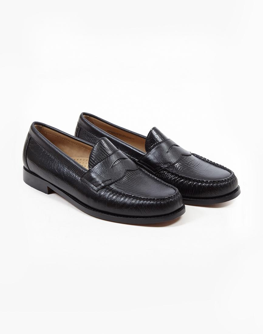 9fef0d16ed2a G.H.Bass Weejun Logan Eg Croc Loafer Black in Black for Men - Lyst