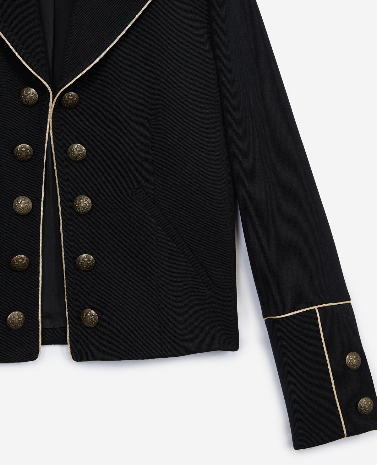 Lyst The Kooples Short Black Suit Jacket With Golden Buttons In Black