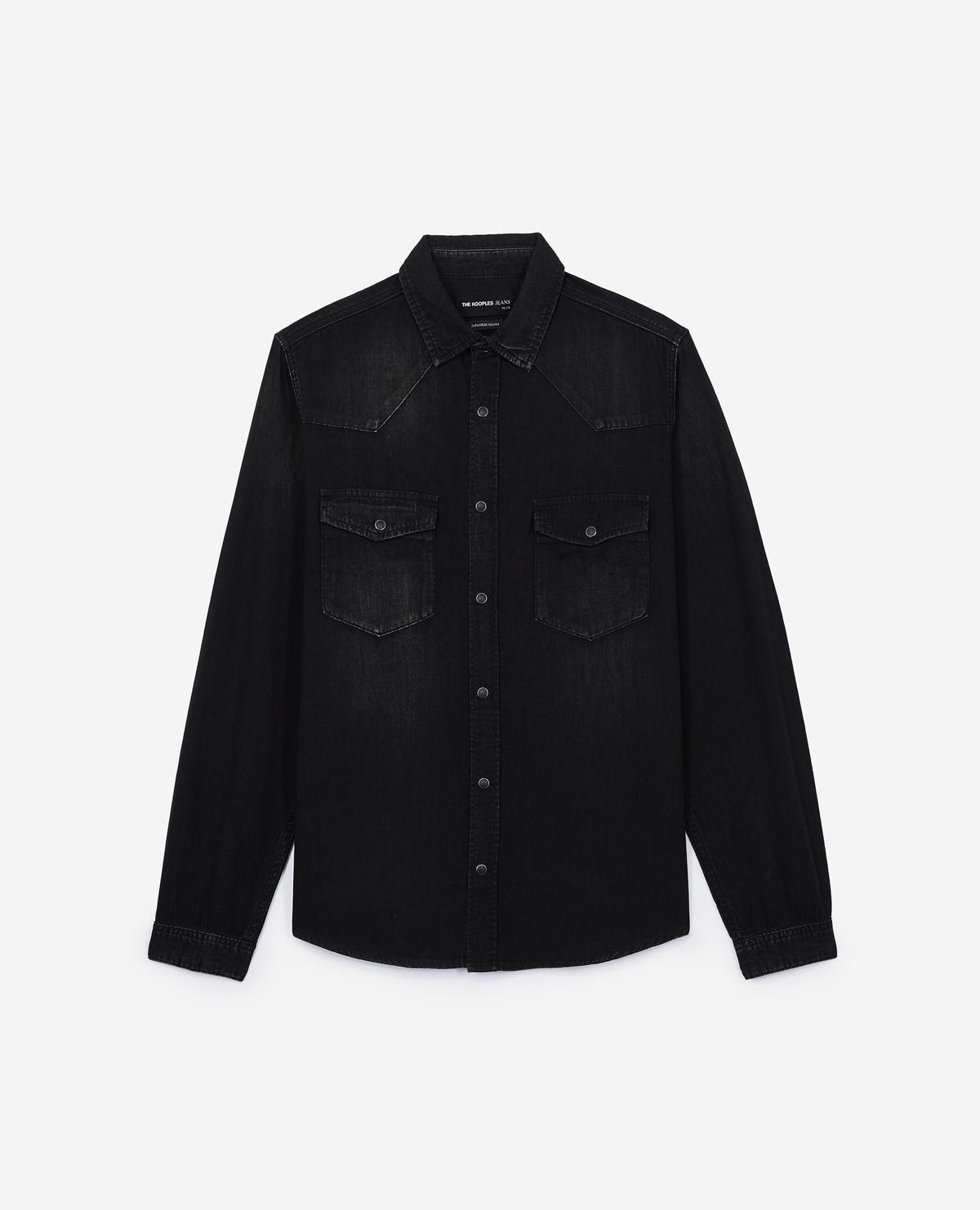4ba098a69f Lyst - The Kooples Black Japanese Denim Shirt in Blue for Men