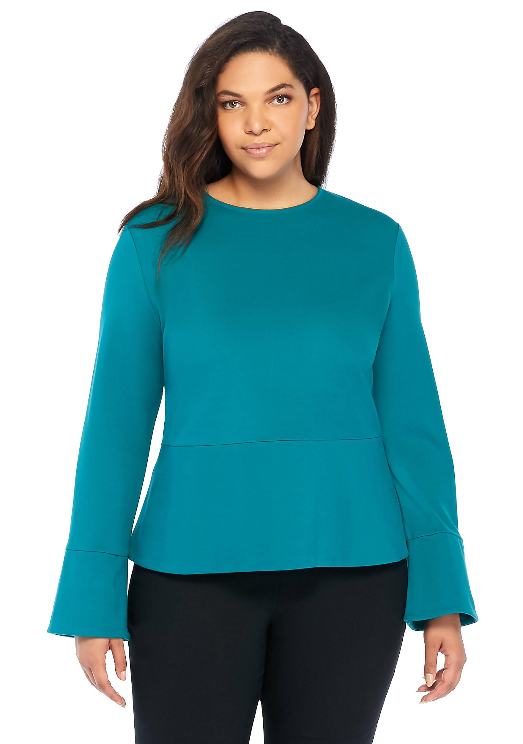 068bb7a85bd Lyst - The Limited Plus Size Ponte Peplum Top in Blue